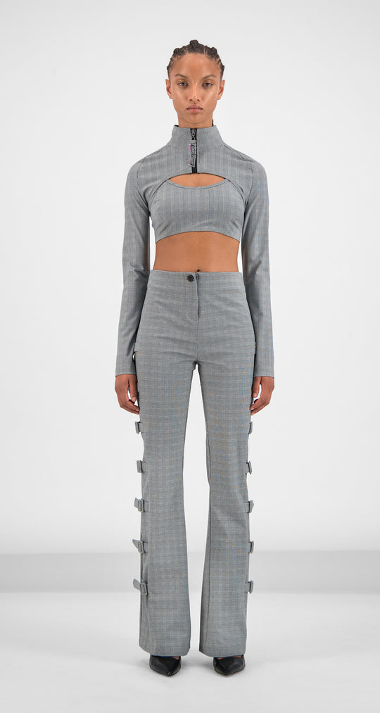 Daily Paper - Grey Checked Golero Top Women Front
