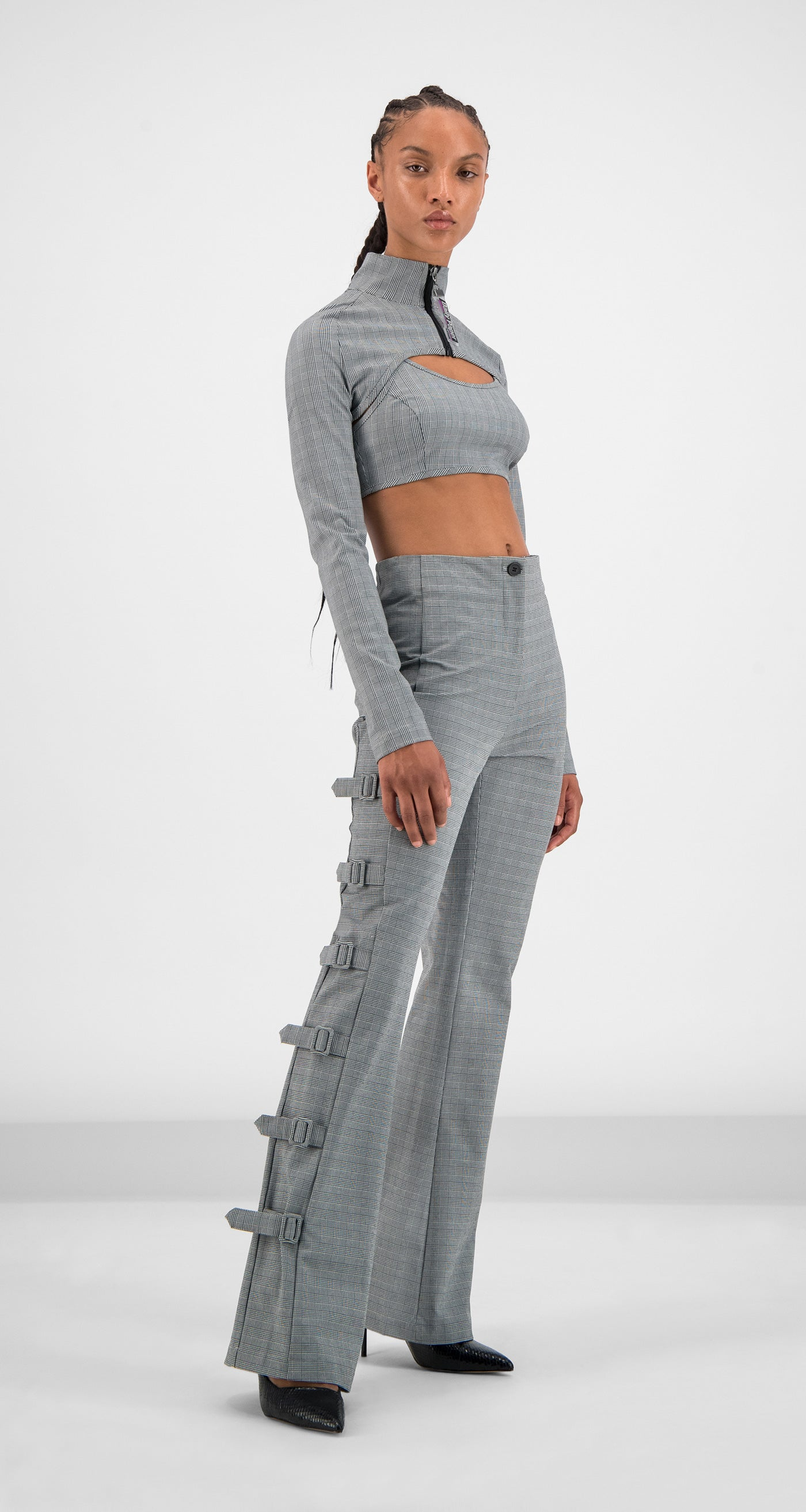 Daily Paper - Grey Checked Golero Top Women