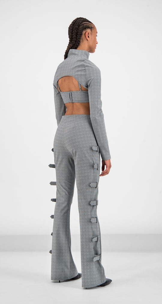 Daily Paper - Grey Checked Golero Top Women Rear