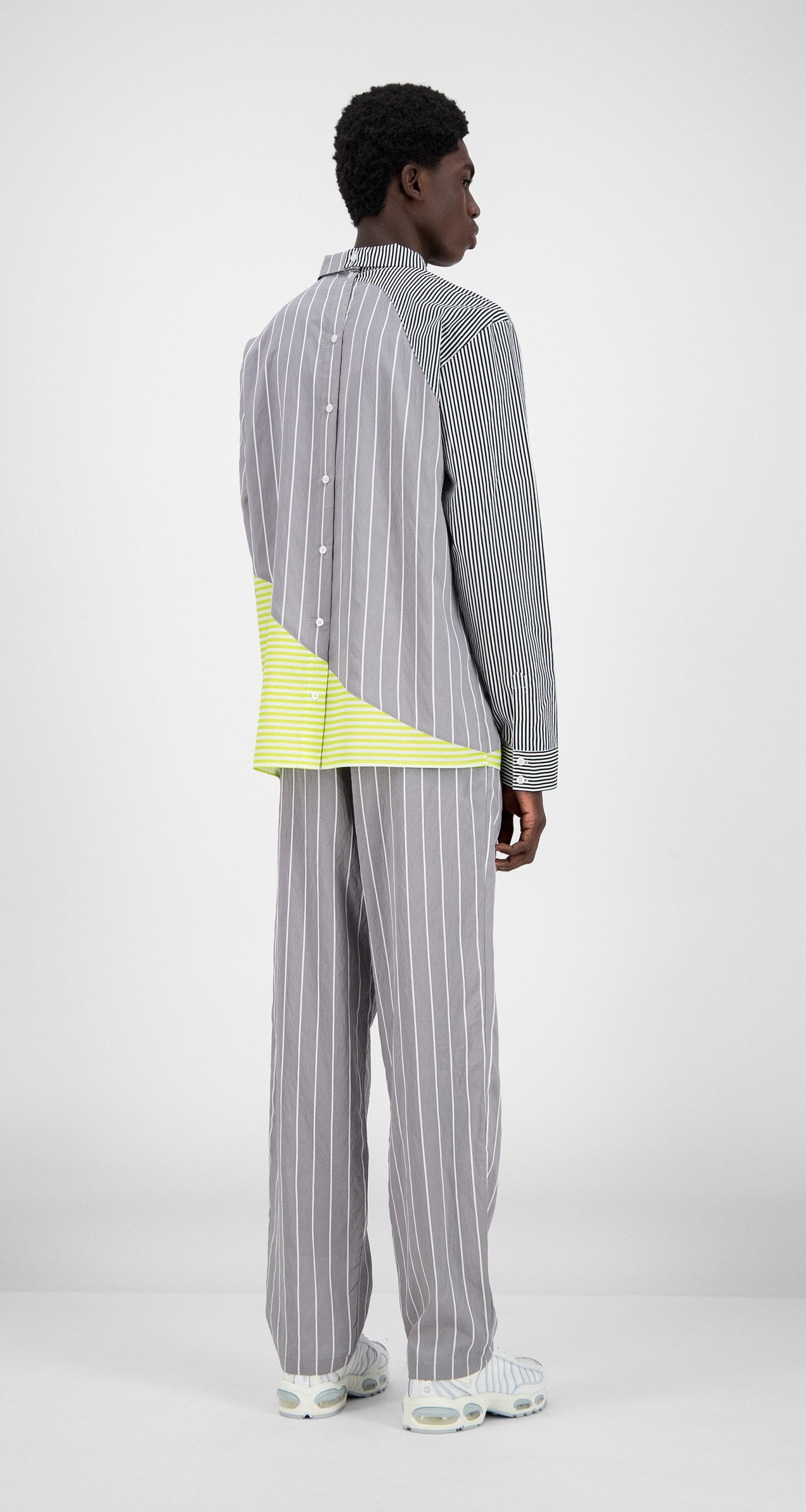 Daily Paper - Grey Striped Hadee Shirt - Men Rear