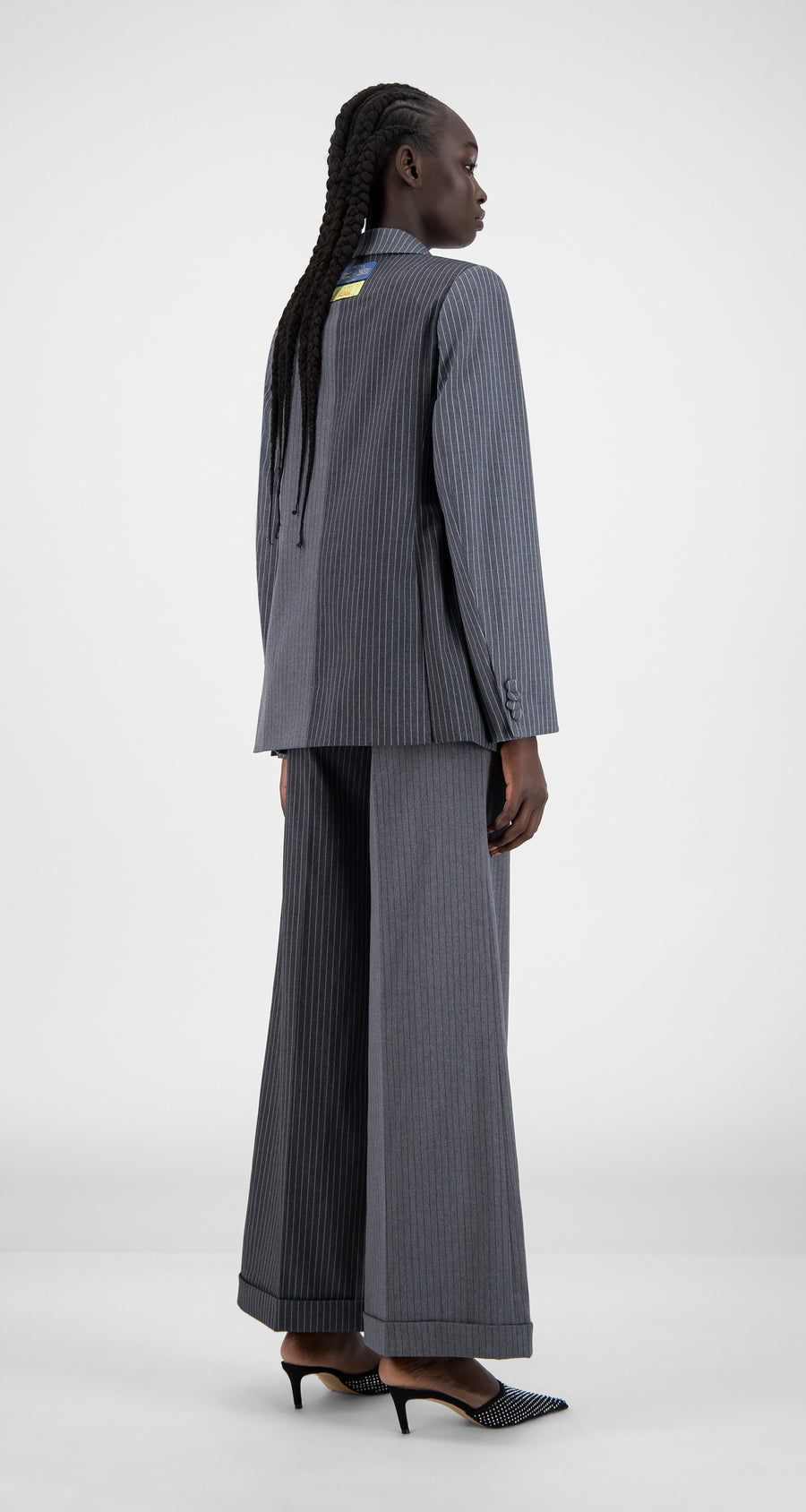 Daily Paper - Grey Pinstripe Hasina Blazer - Women Rear