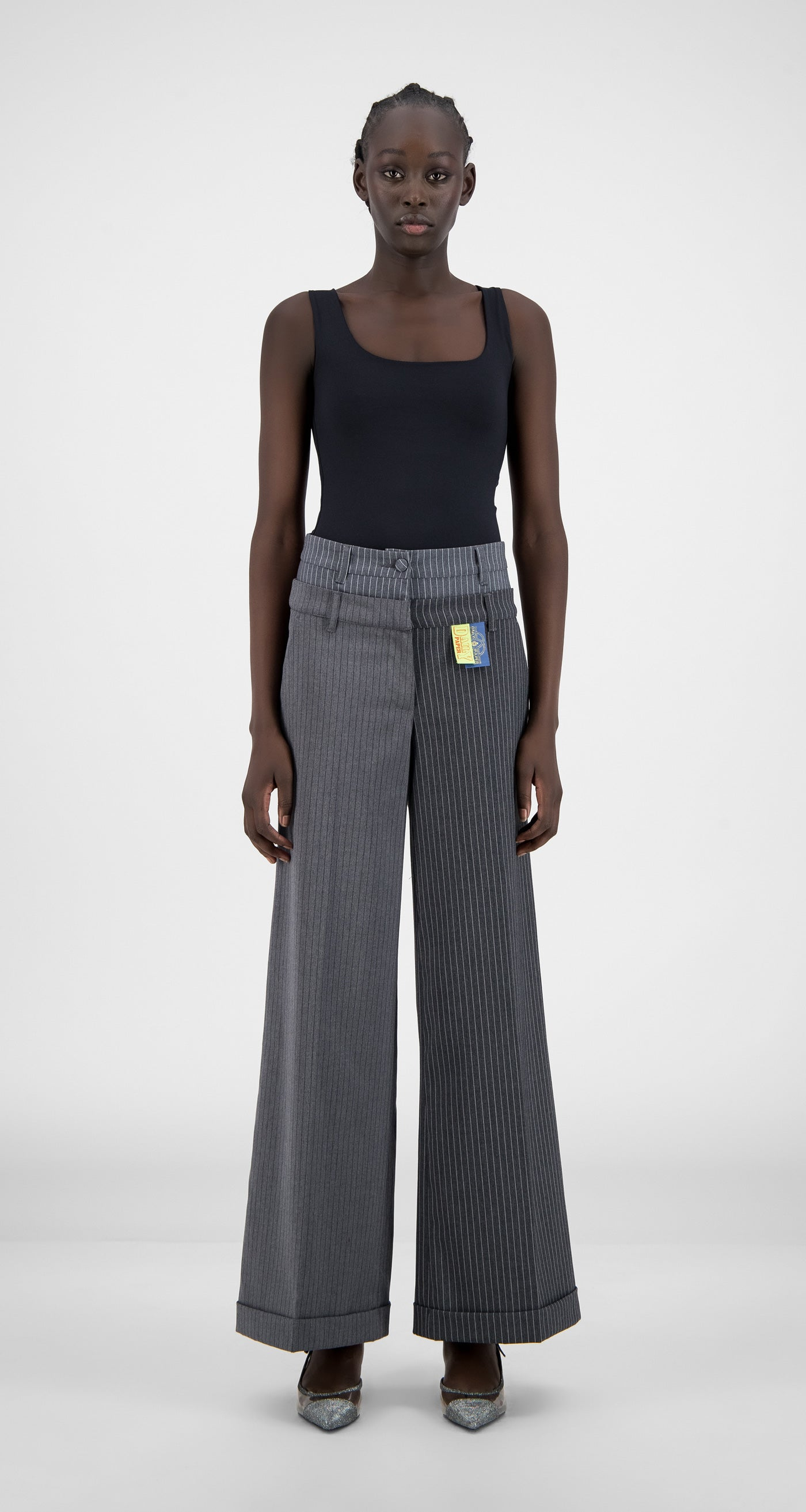 Daily Paper - Grey Pinstripe Heck Pants - Women Front