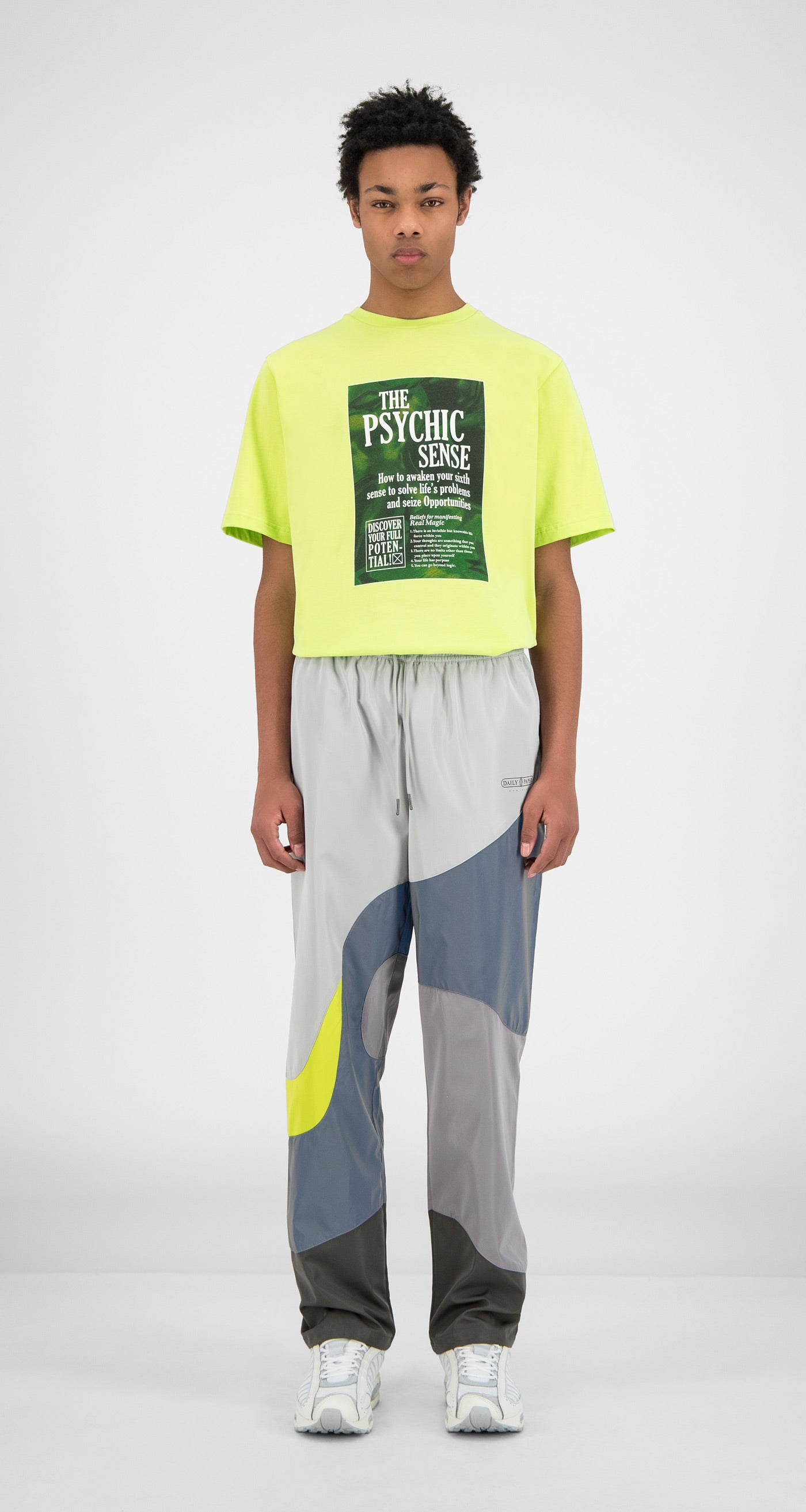 Daily Paper - Grey Reflective Green Huka Pants - Men Front