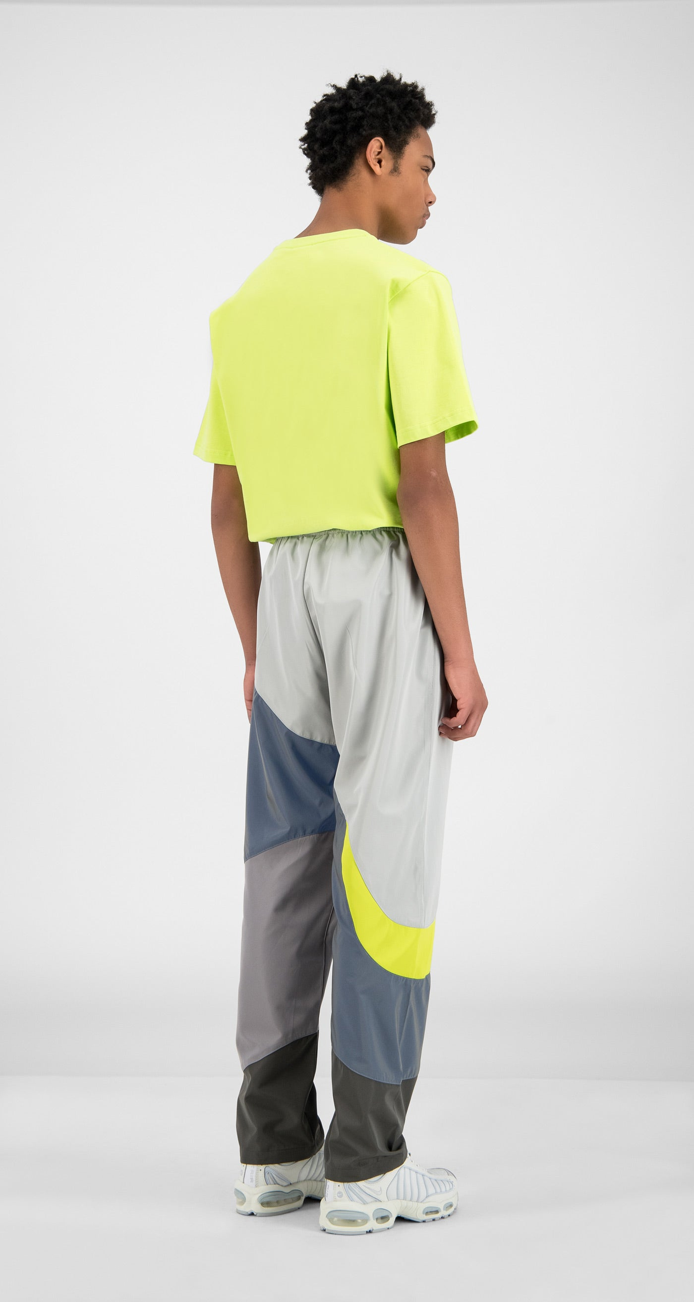 Daily Paper - Grey Reflective Green Huka Pants - Men Rear