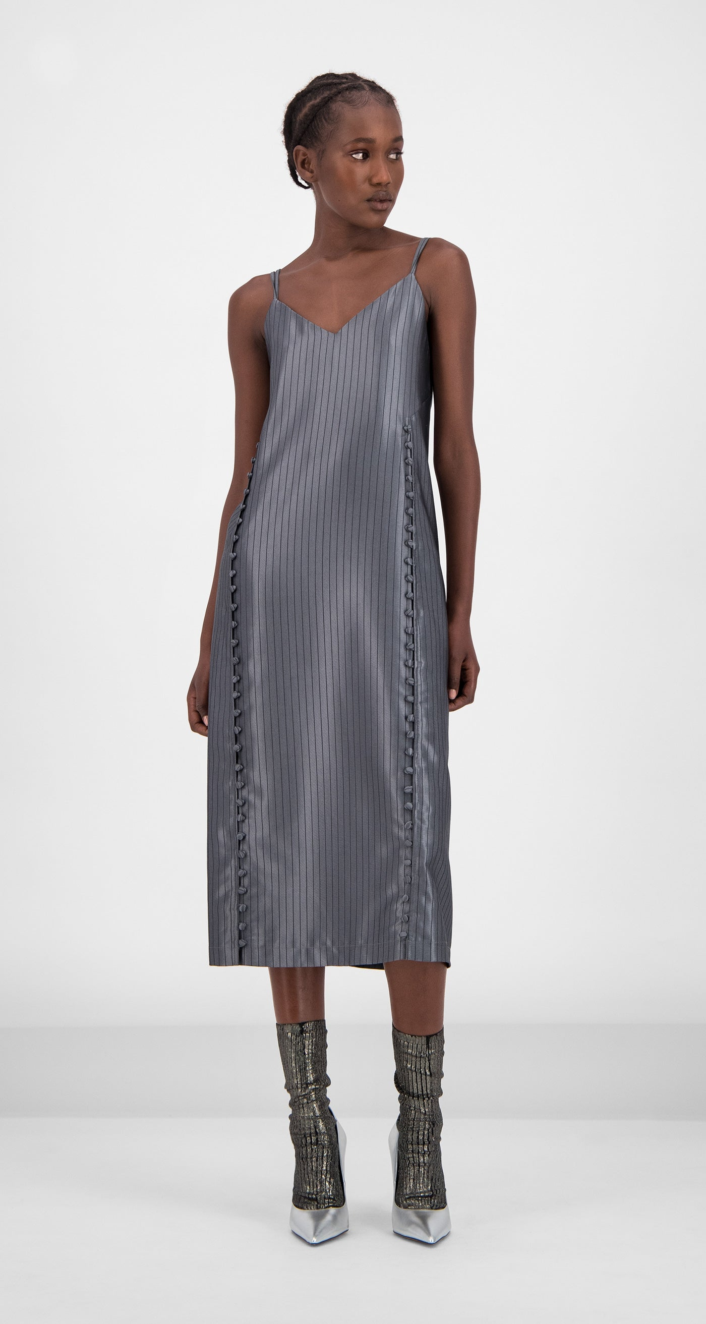 Daily Paper - Grey Striped Gib Dress Women Front
