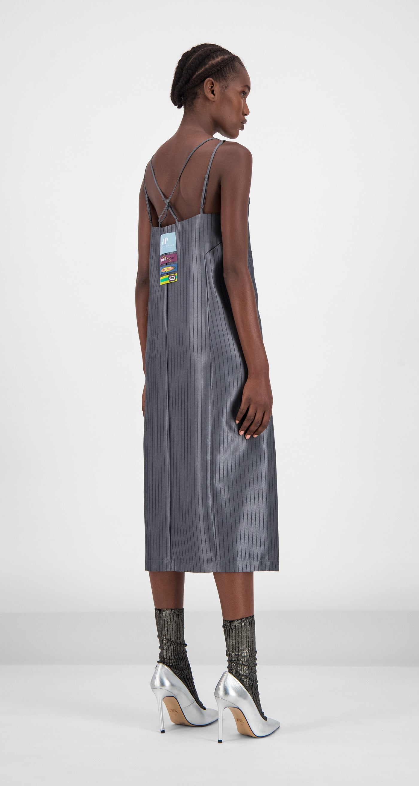Daily Paper - Grey Striped Gib Dress Women Rear