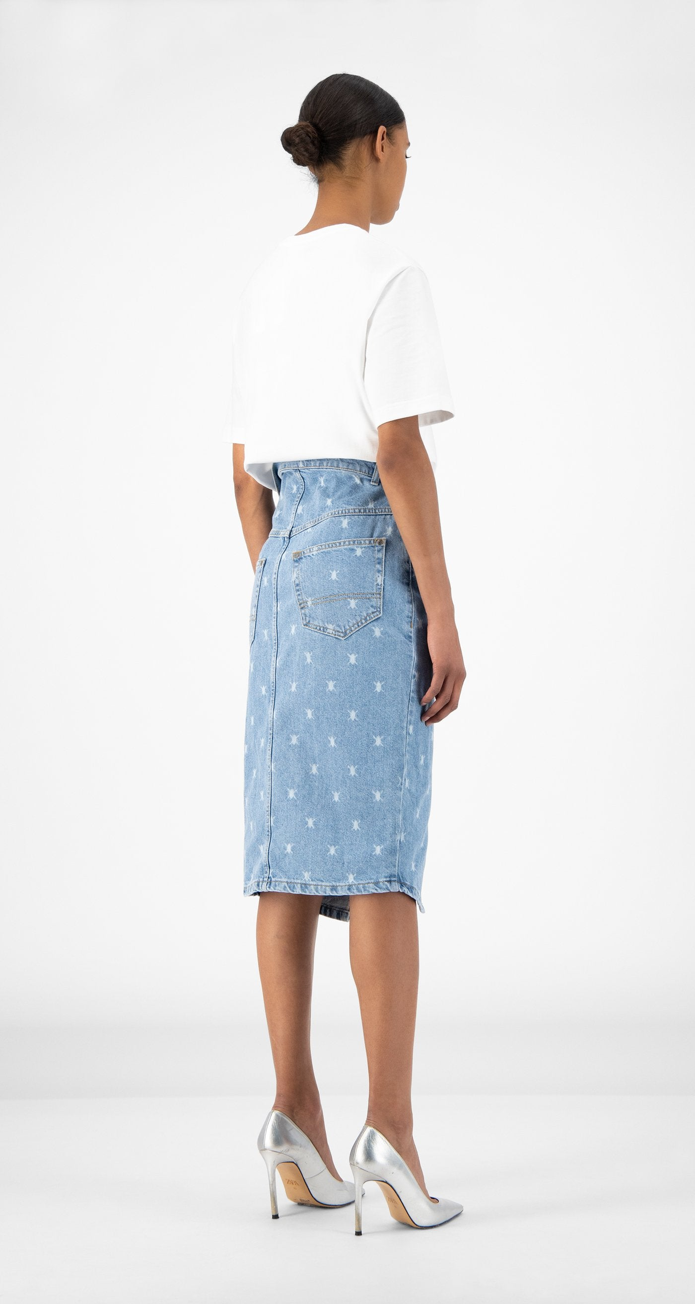 Daily Paper - Blue Denim Rehowi Skirt - Women Rear