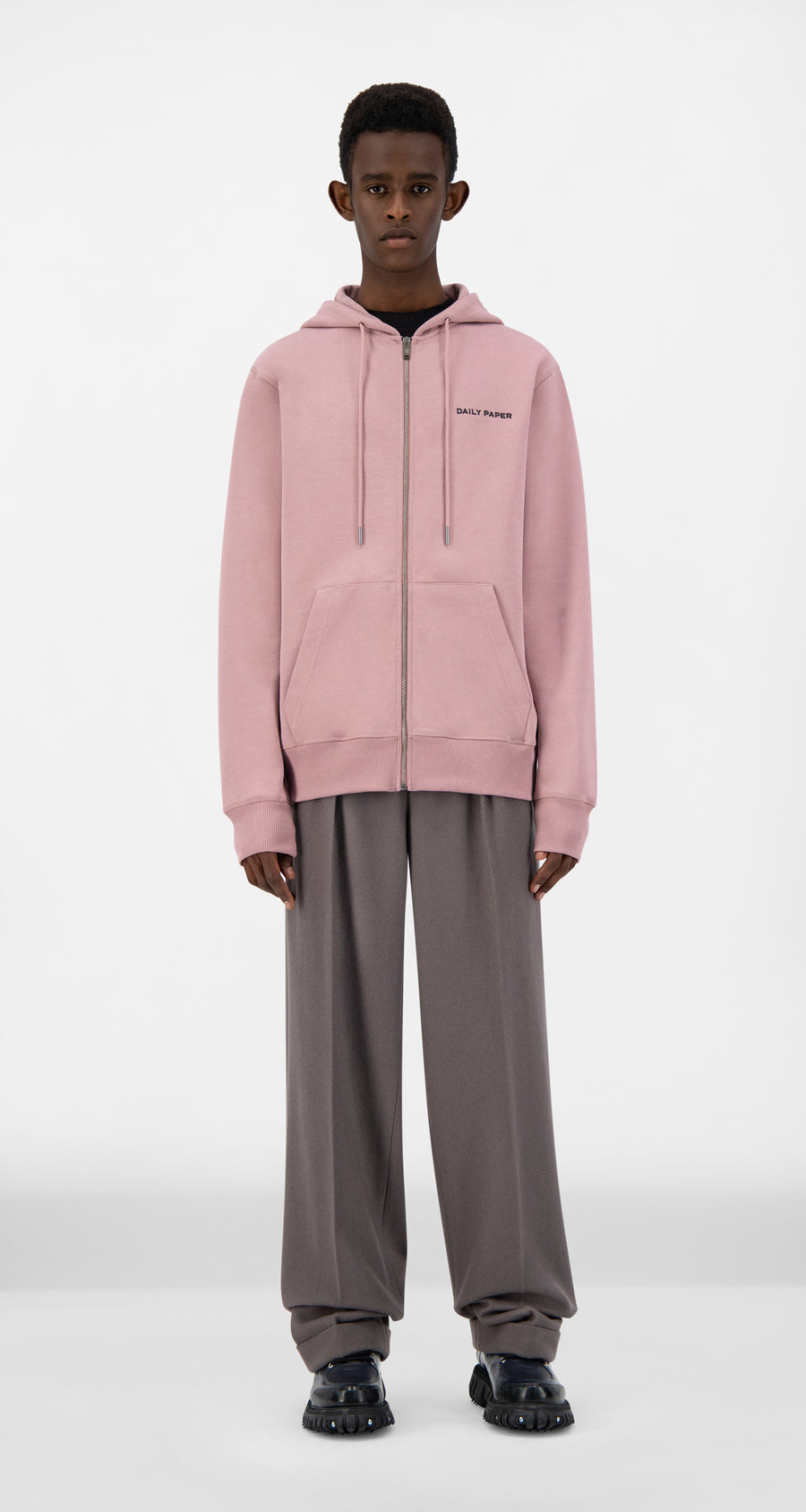Daily Paper - Mauve Pink Pith Zip Hoody - Men Front