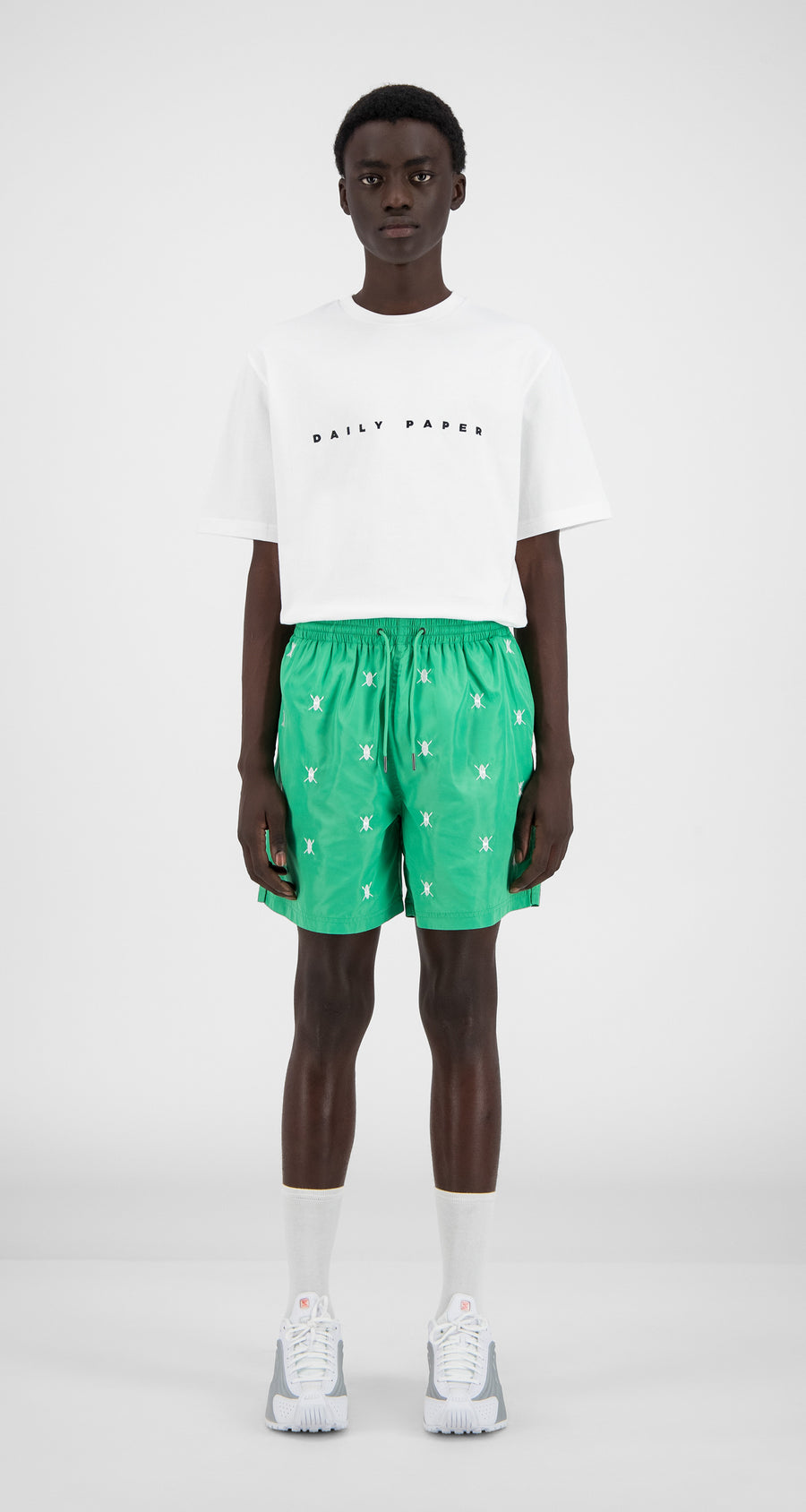 Daily Paper - Mint Green Shield Logo Swim Shorts - Men Front