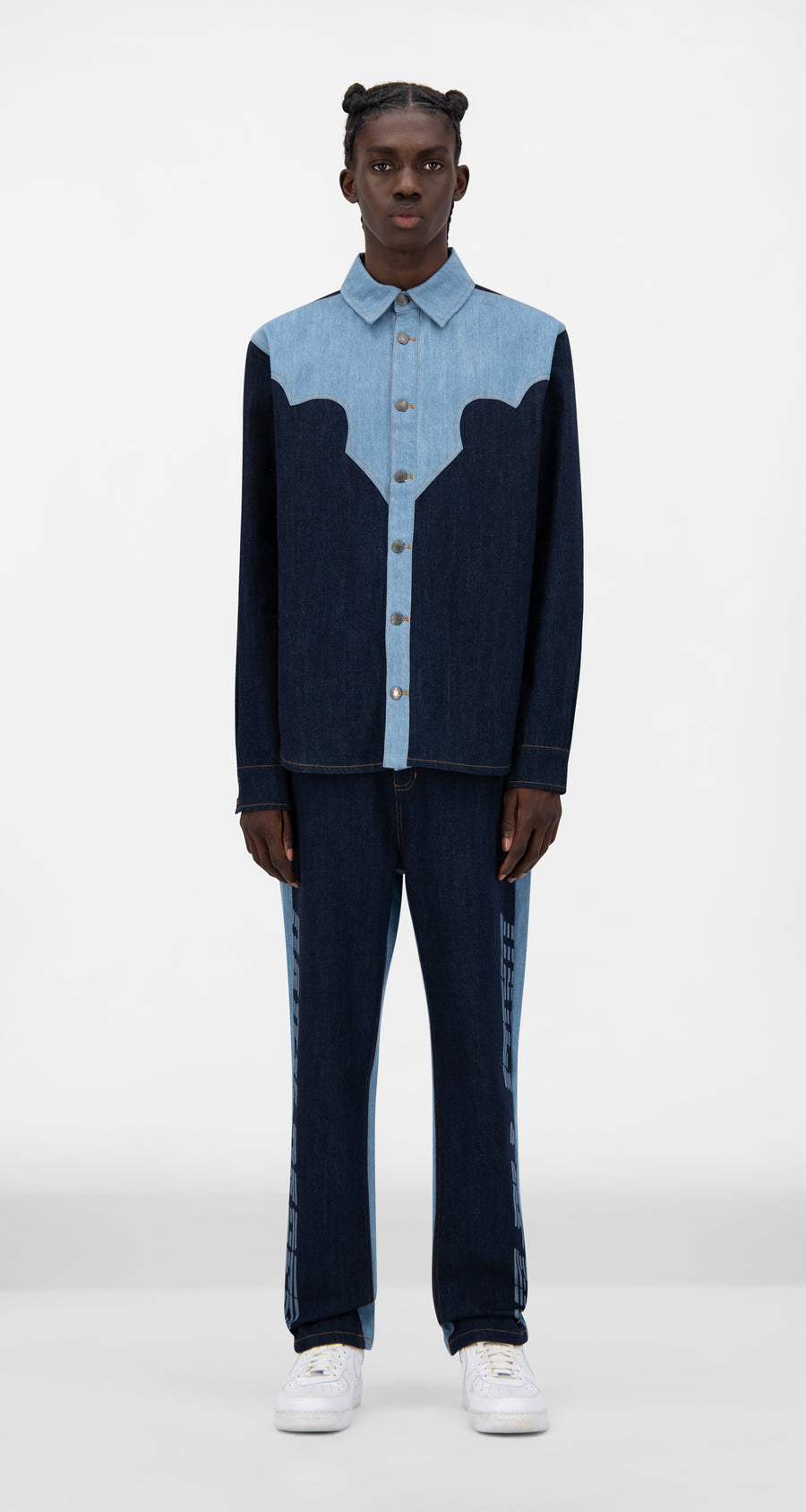 Daily Paper - Mixed Denim Jowboy Shirt - Men Front