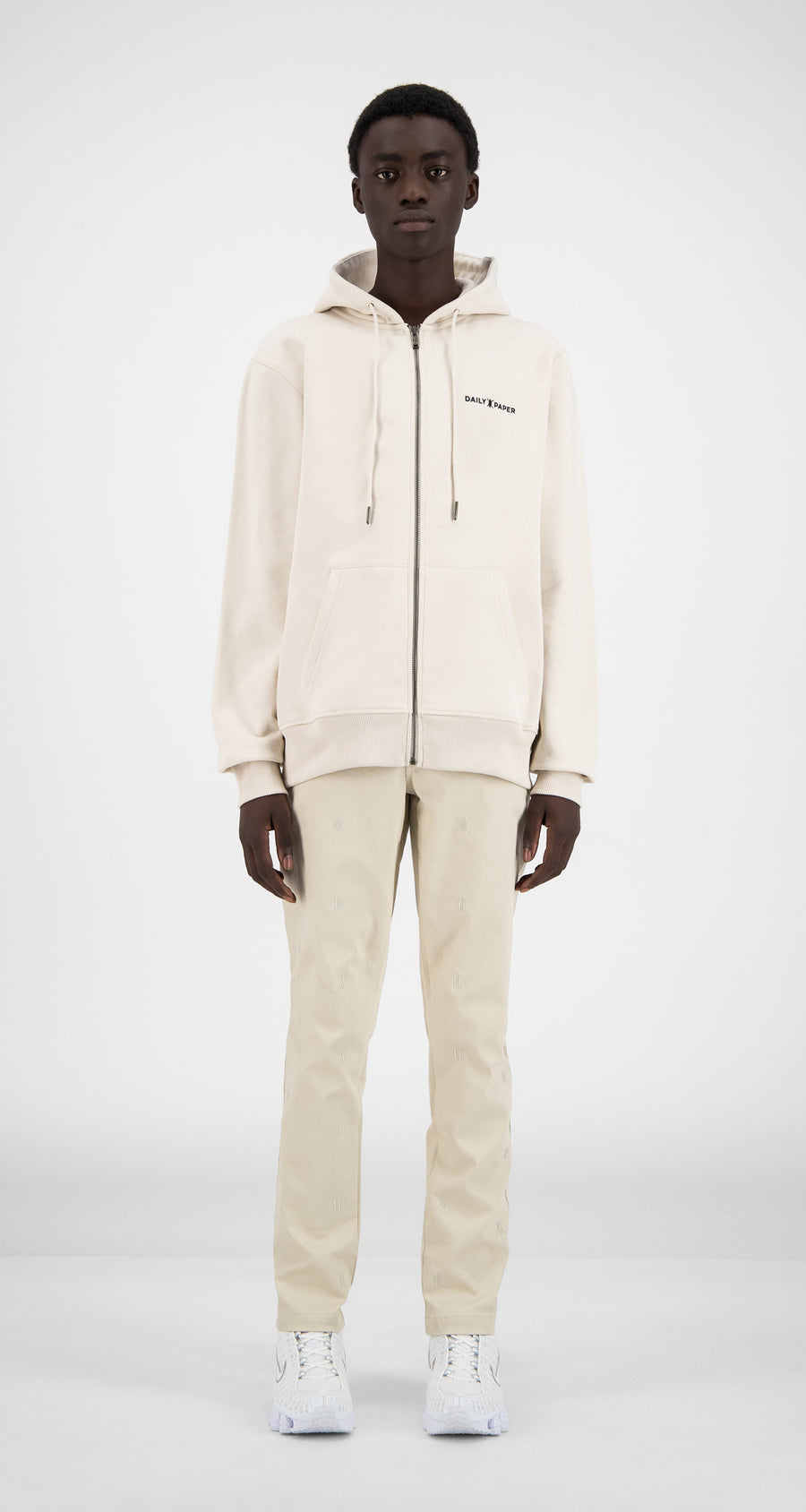 Daily Paper - Moonbeam Beige Shield Logo Zipped Hoody - Men Front