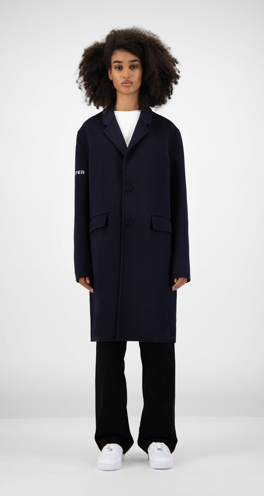 Daily Paper - Navy Wool Captain Coat Women Front