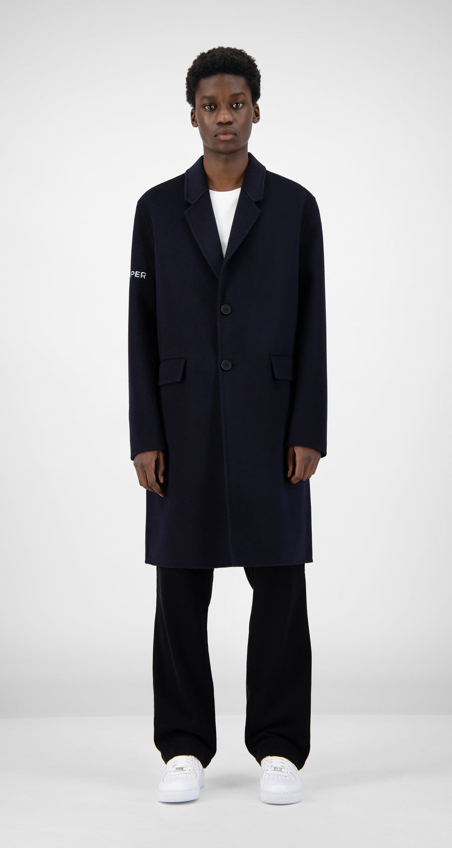 Daily Paper - Navy Wool Captain Coat Men Front