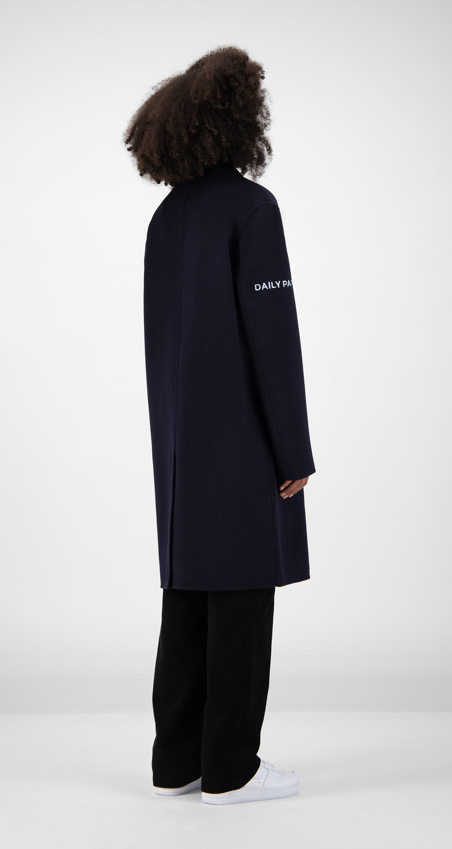 Daily Paper - Navy Wool Captain Coat Women Rear