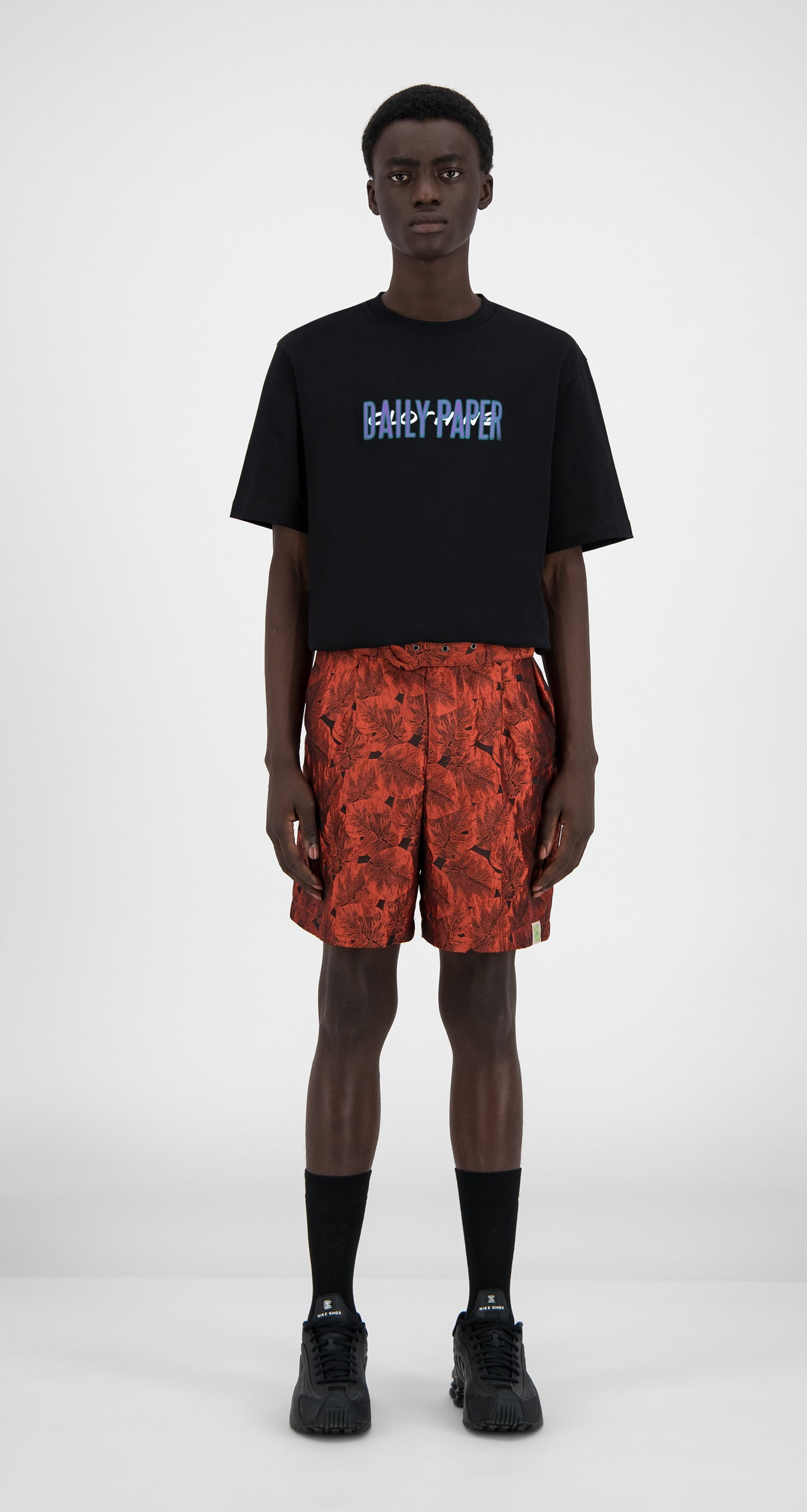 Daily Paper - Orange Flower Hori Shorts - Men Front