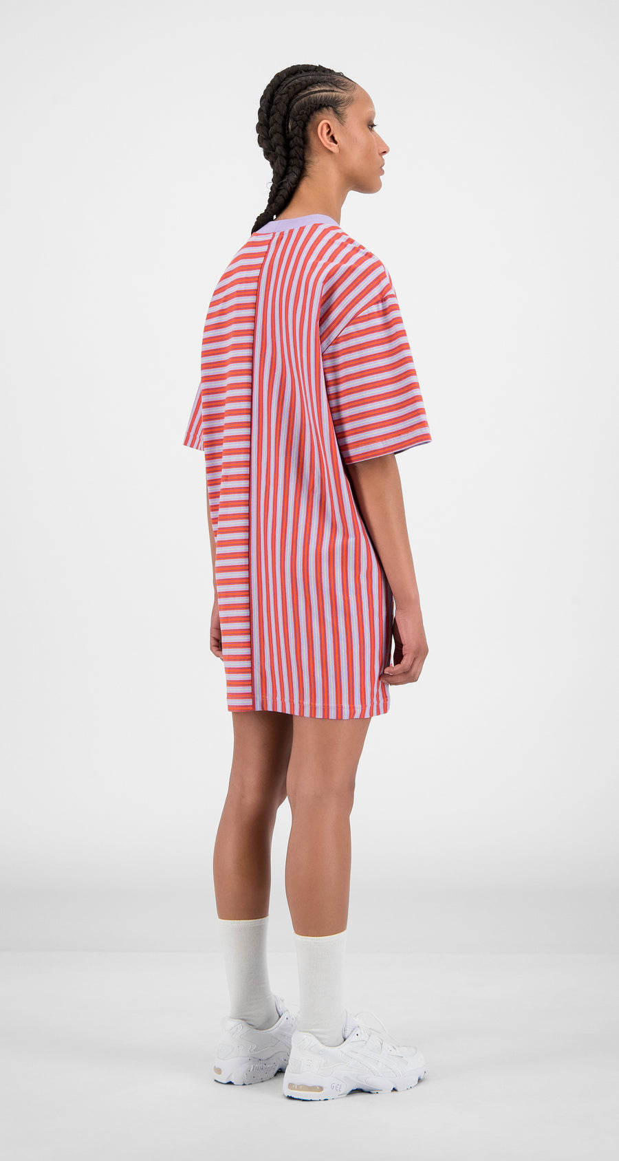 Daily Paper - Orange Lilac Stripe Hoxy Dress - Women Rear