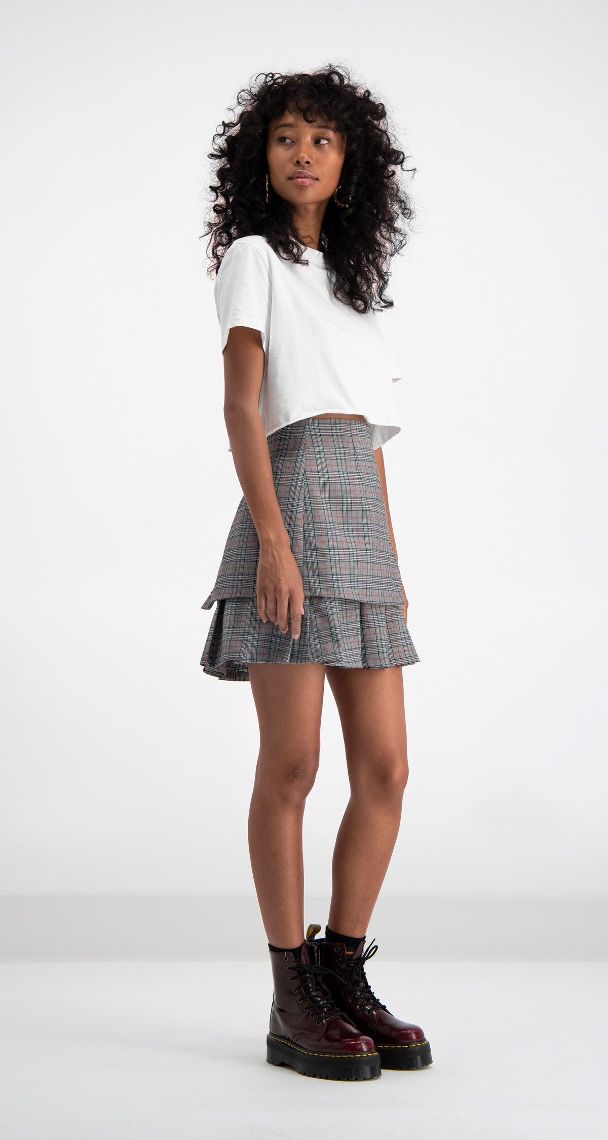 Grey Checked Dacing Skirt