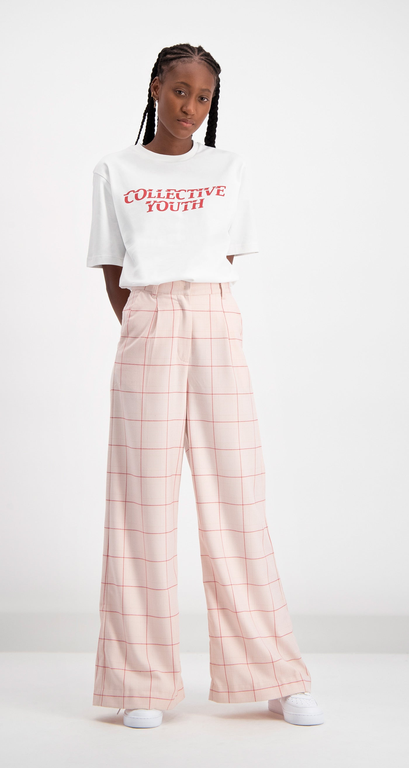 Daily Paper - Pink Checked Deck Pants Women Front