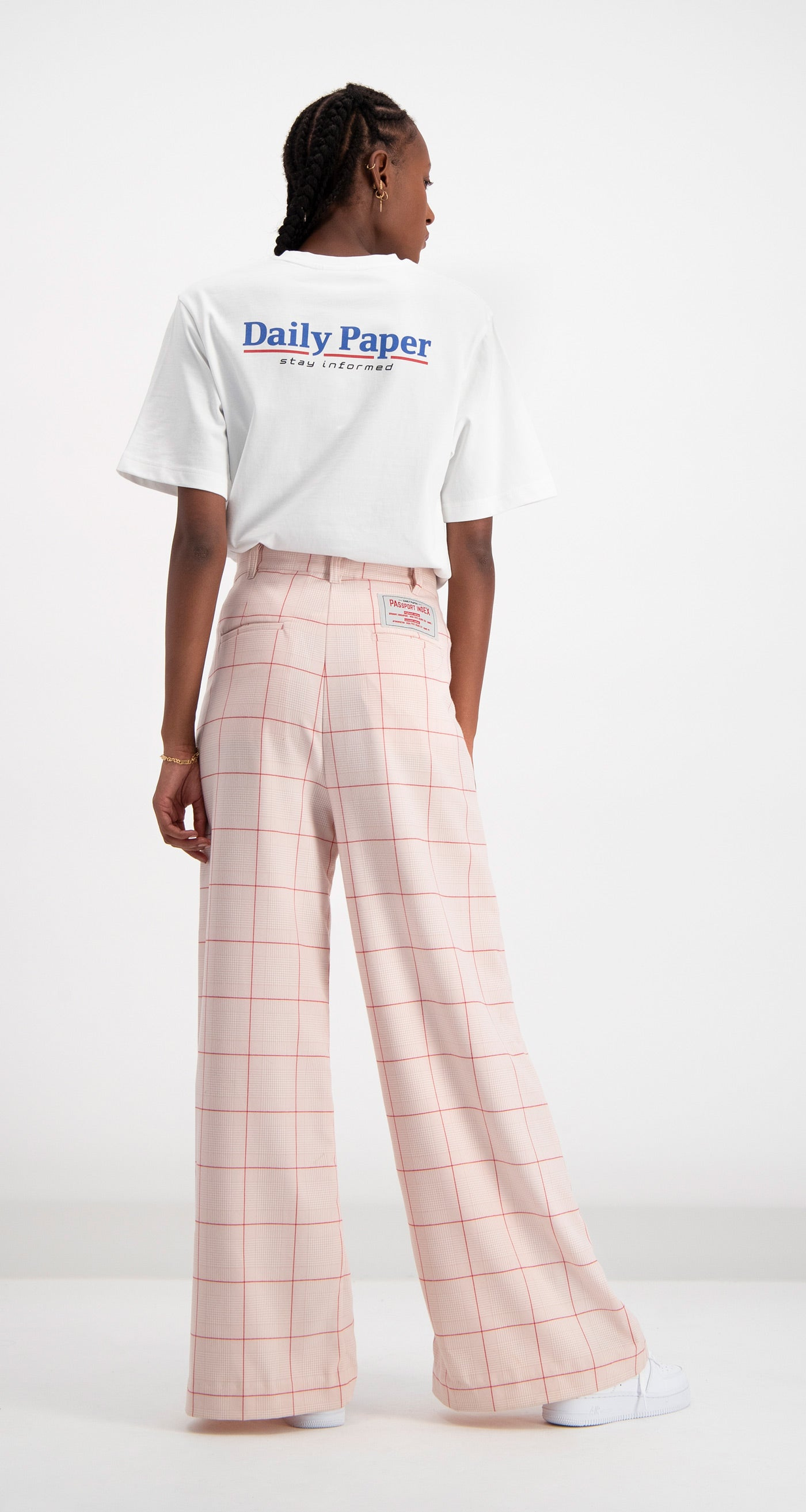 Daily Paper - Pink Checked Deck Pants Women Rear