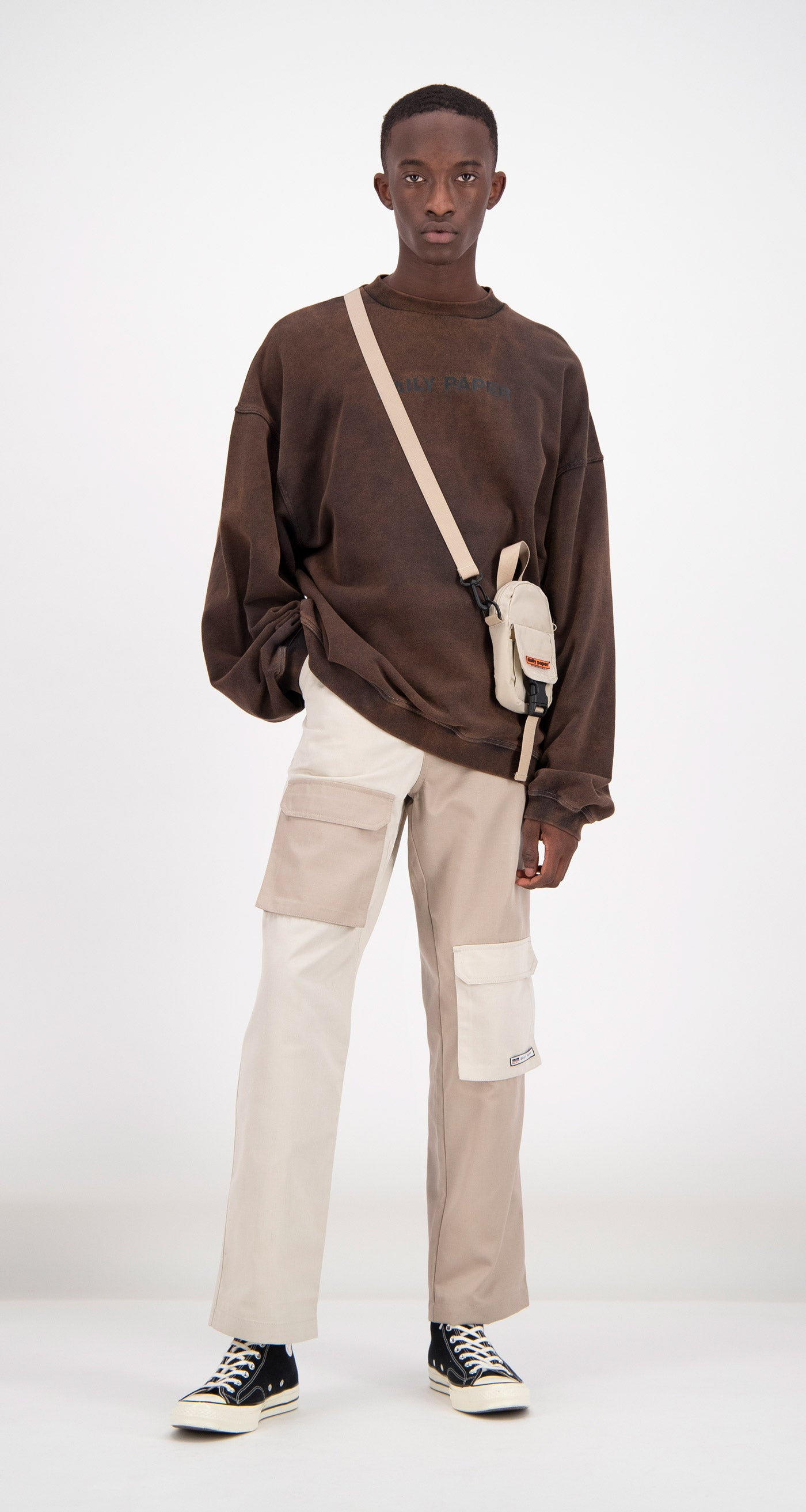 Daily Paper - Brown Fadu Oversized Sweater Men Front