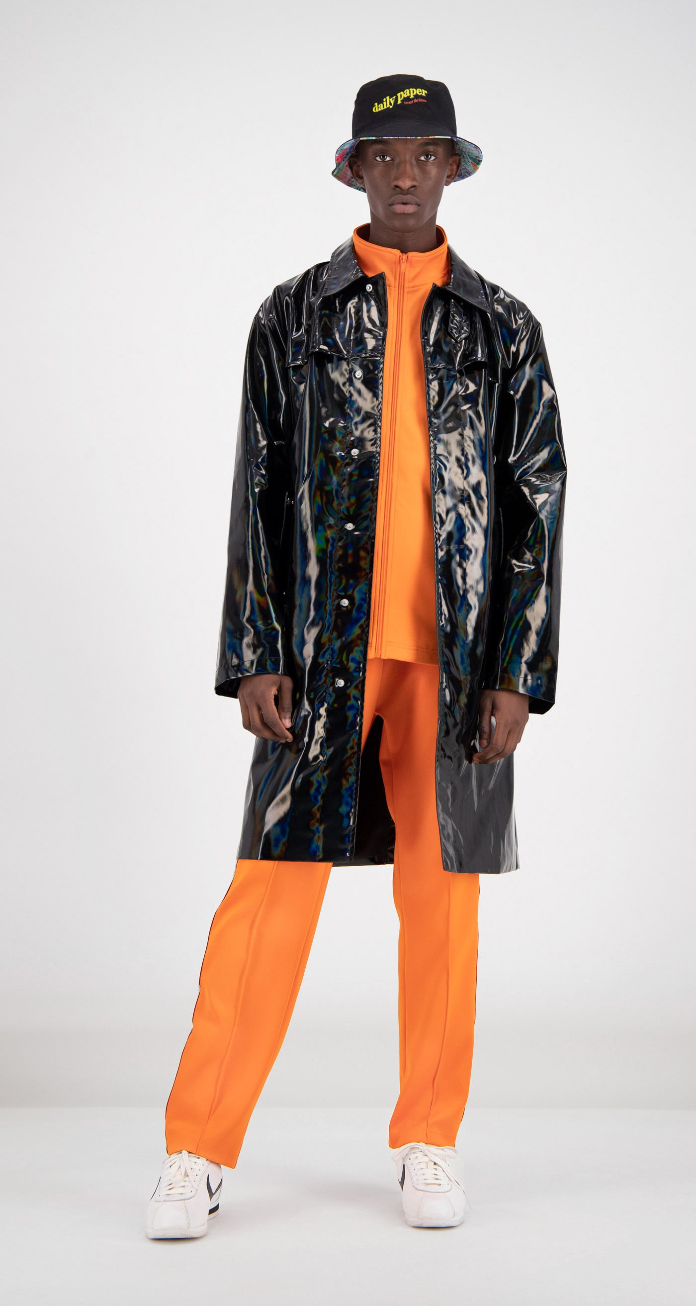 Daily Paper - Black Holographic Fain Coat Men Front
