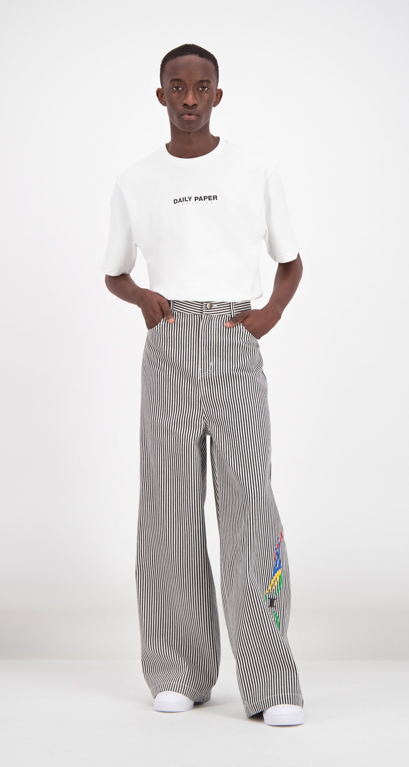 Daily Paper - Striped Fikir Wide Leg Pants Men Front