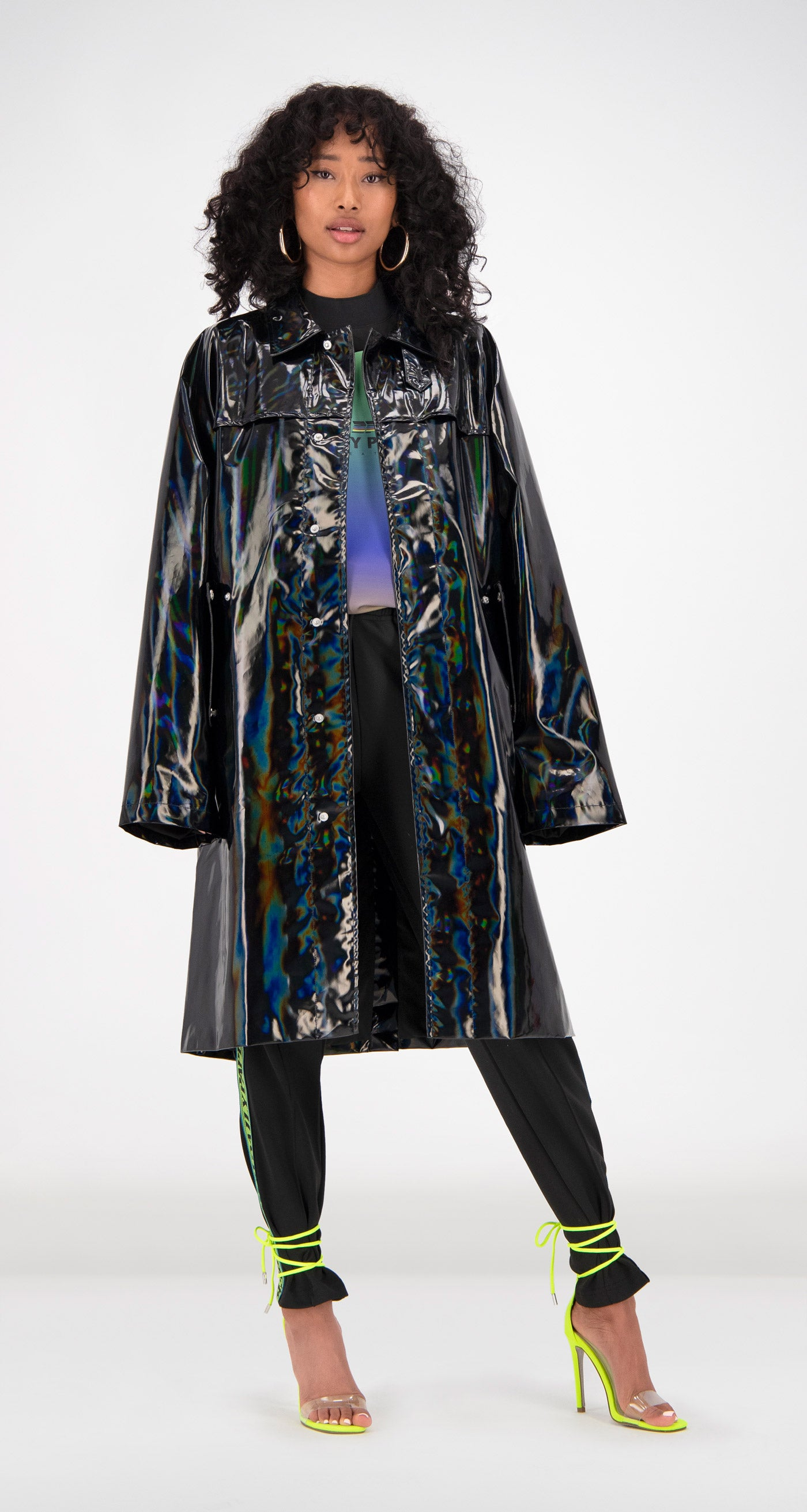 Daily Paper - Black Holographic Fain Coat Front Women