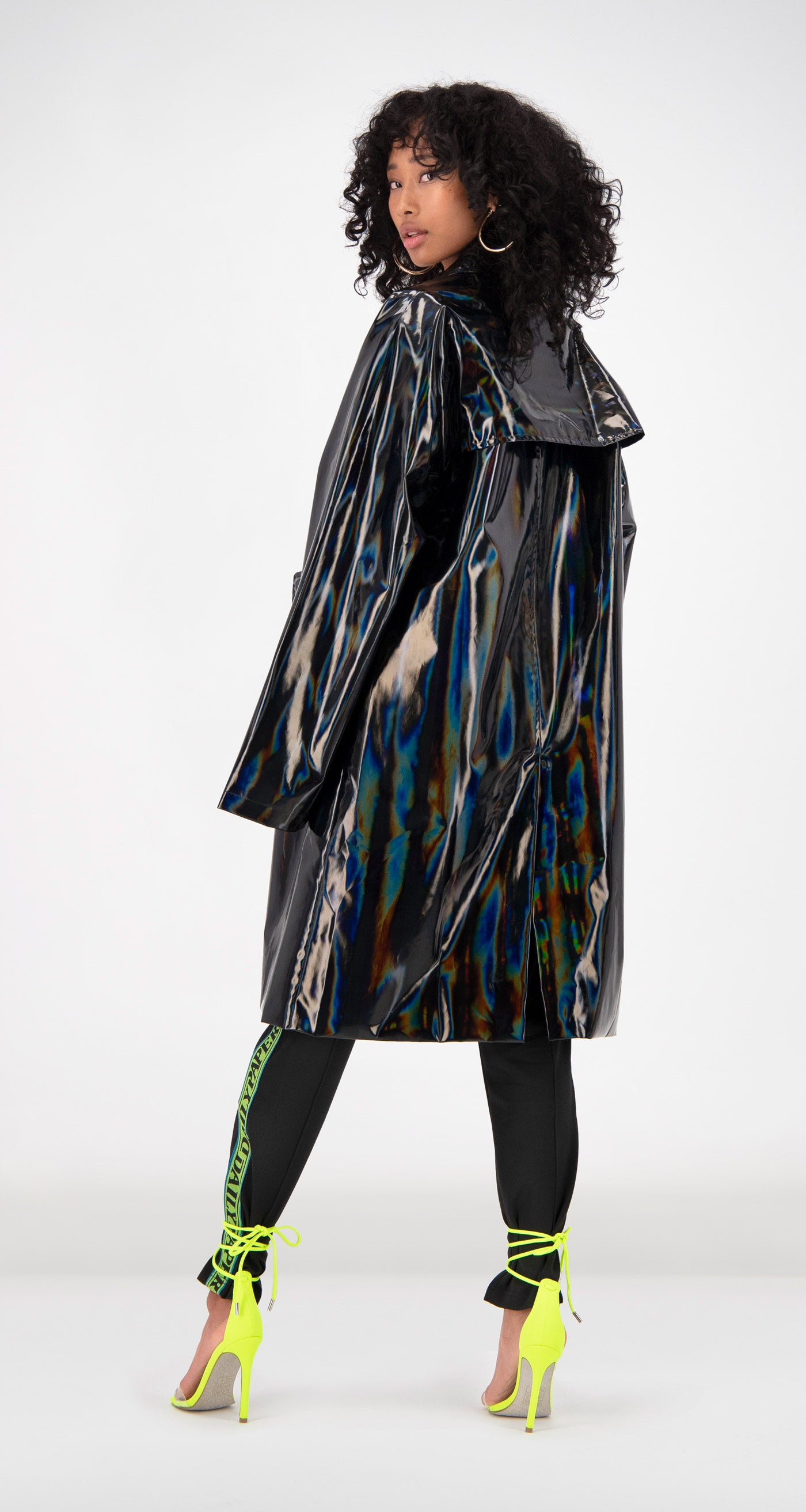 Daily Paper - Black Holographic Fain Coat Rear Women