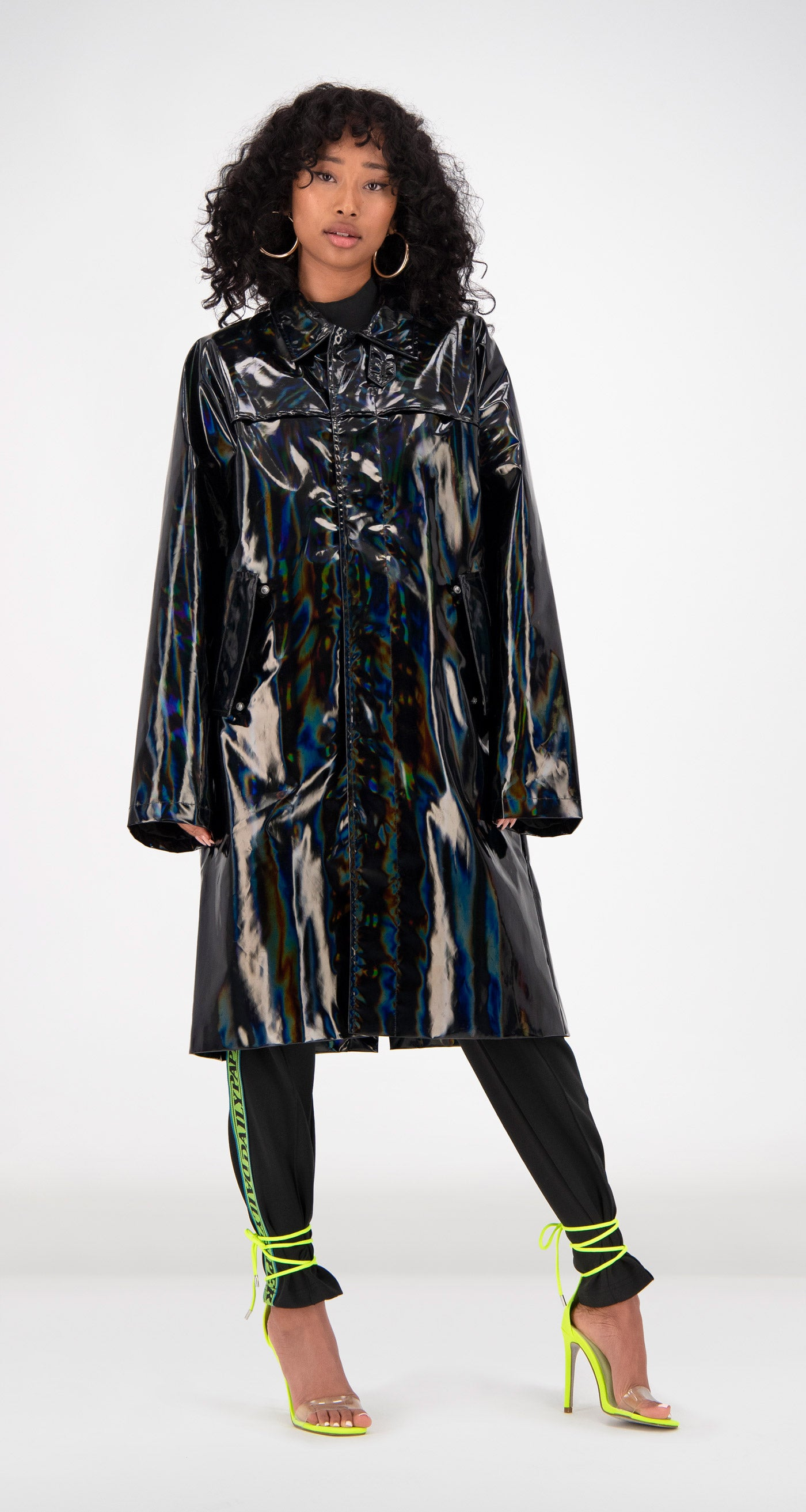 Daily Paper - Black Holographic Fain Coat Women