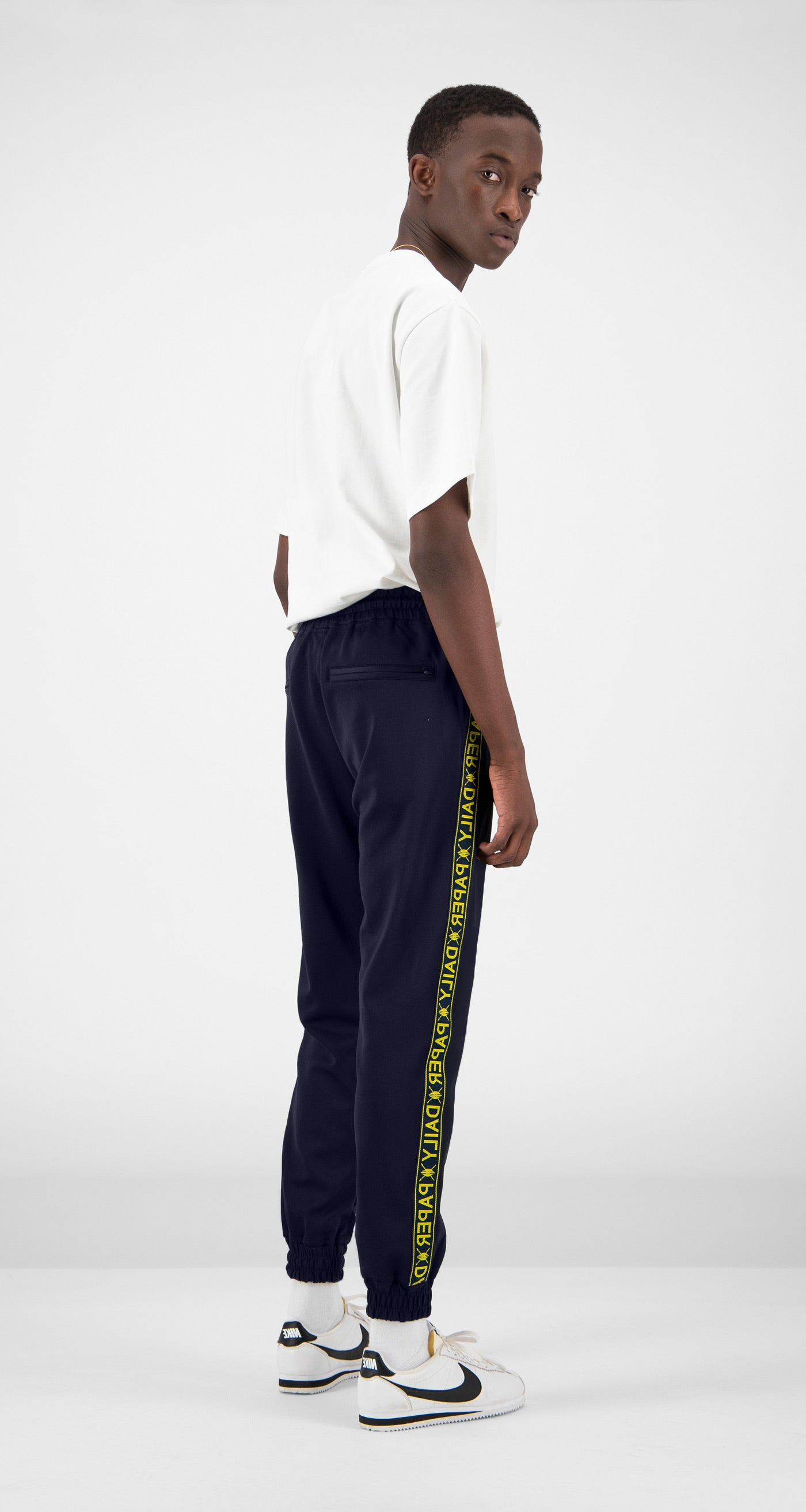 Daily Paper - Navy Tape Logo Track Pants Men Rear