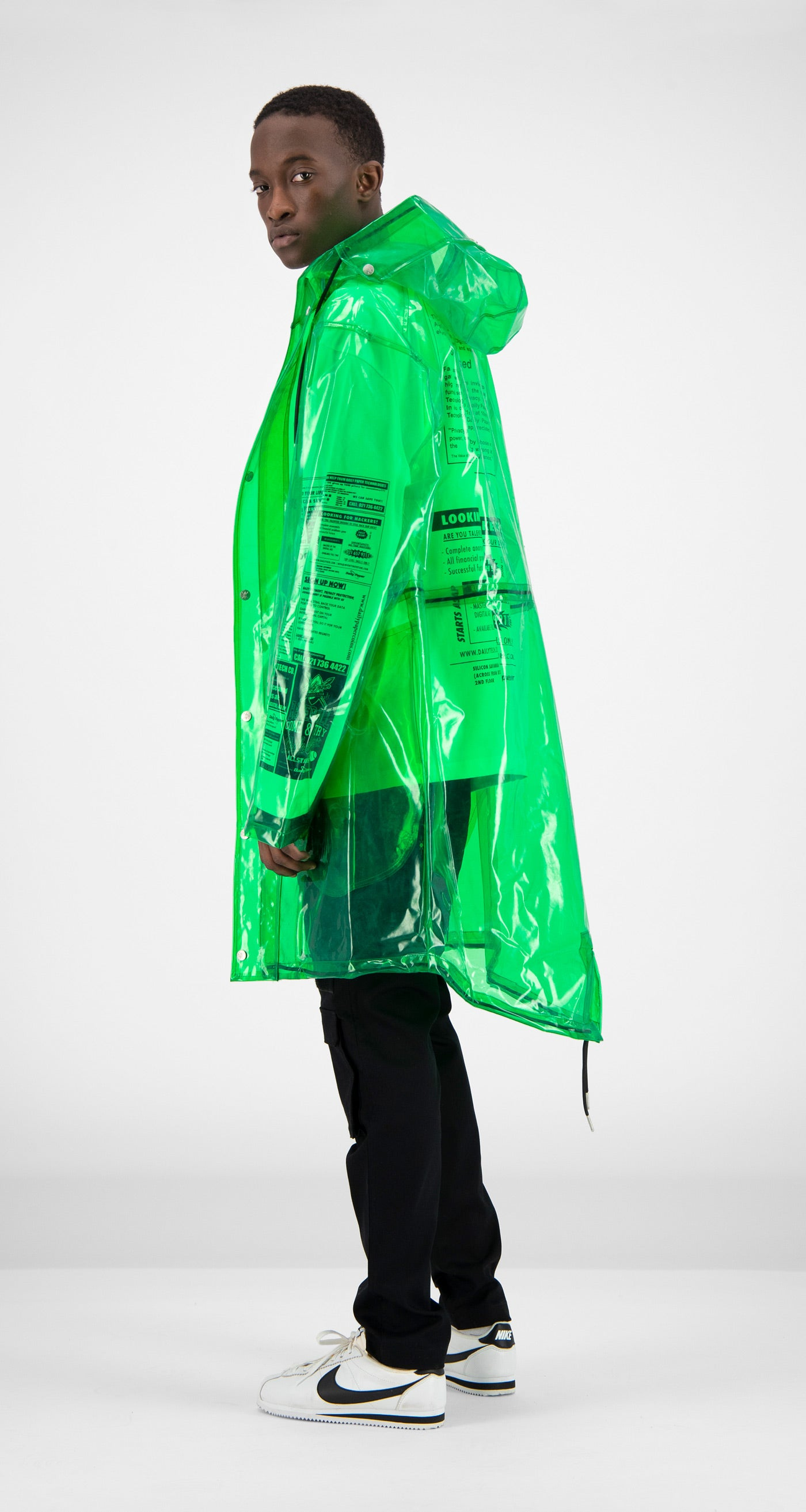 Daily Paper - Green Transparent Fatec Raincoat Men Rear
