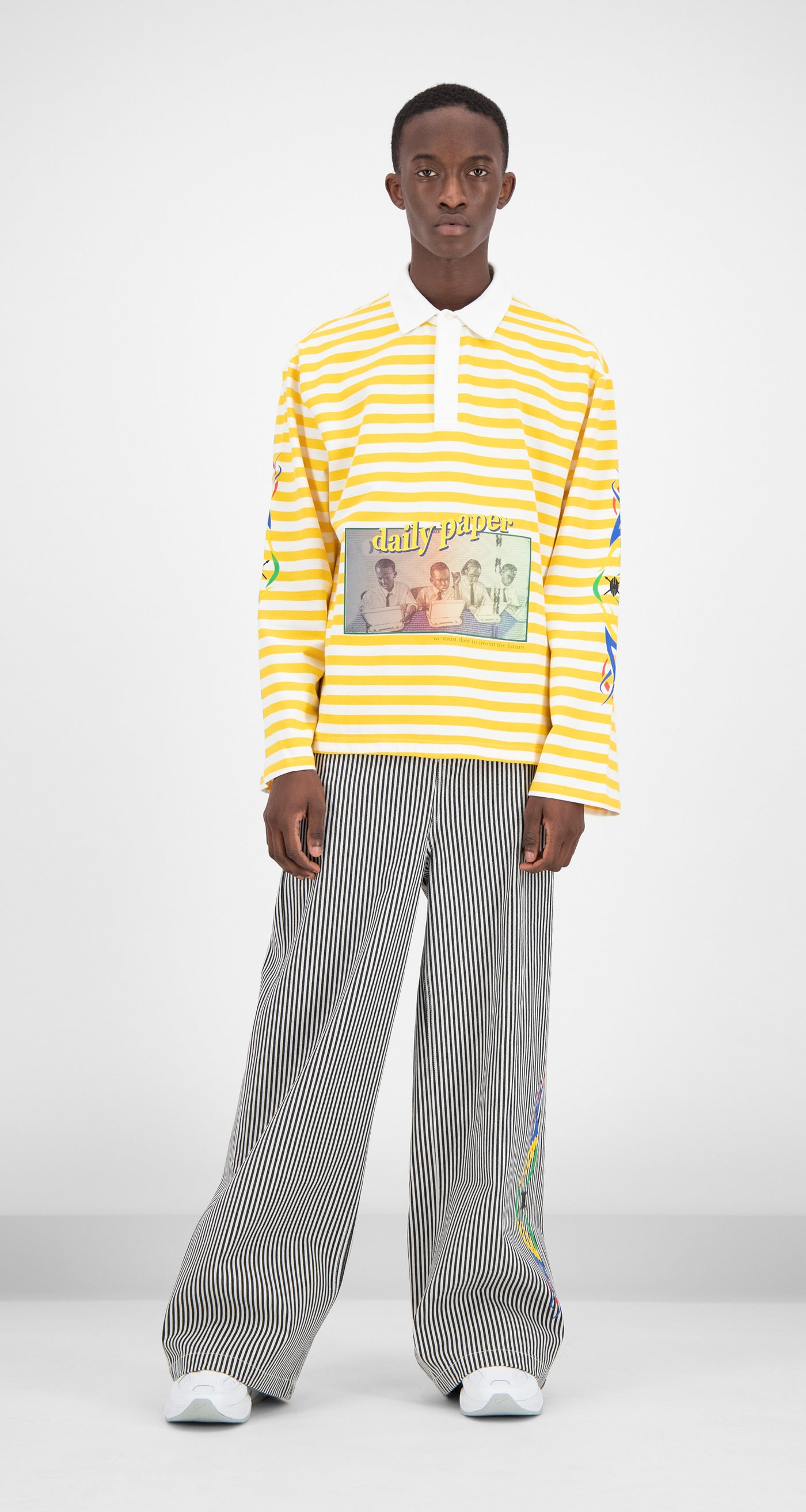 Daily Paper - Yellow Striped Folo Longsleeve Men
