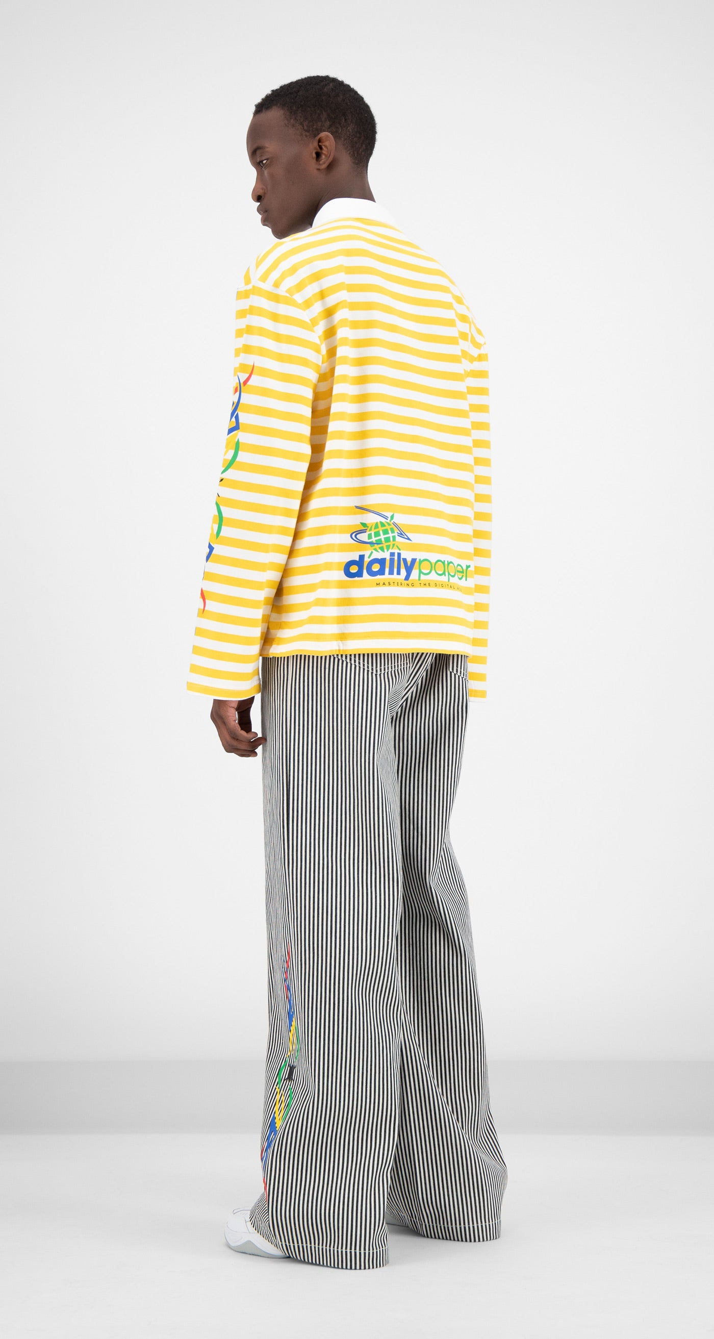 Daily Paper - Yellow Striped Folo Longsleeve Men Rear