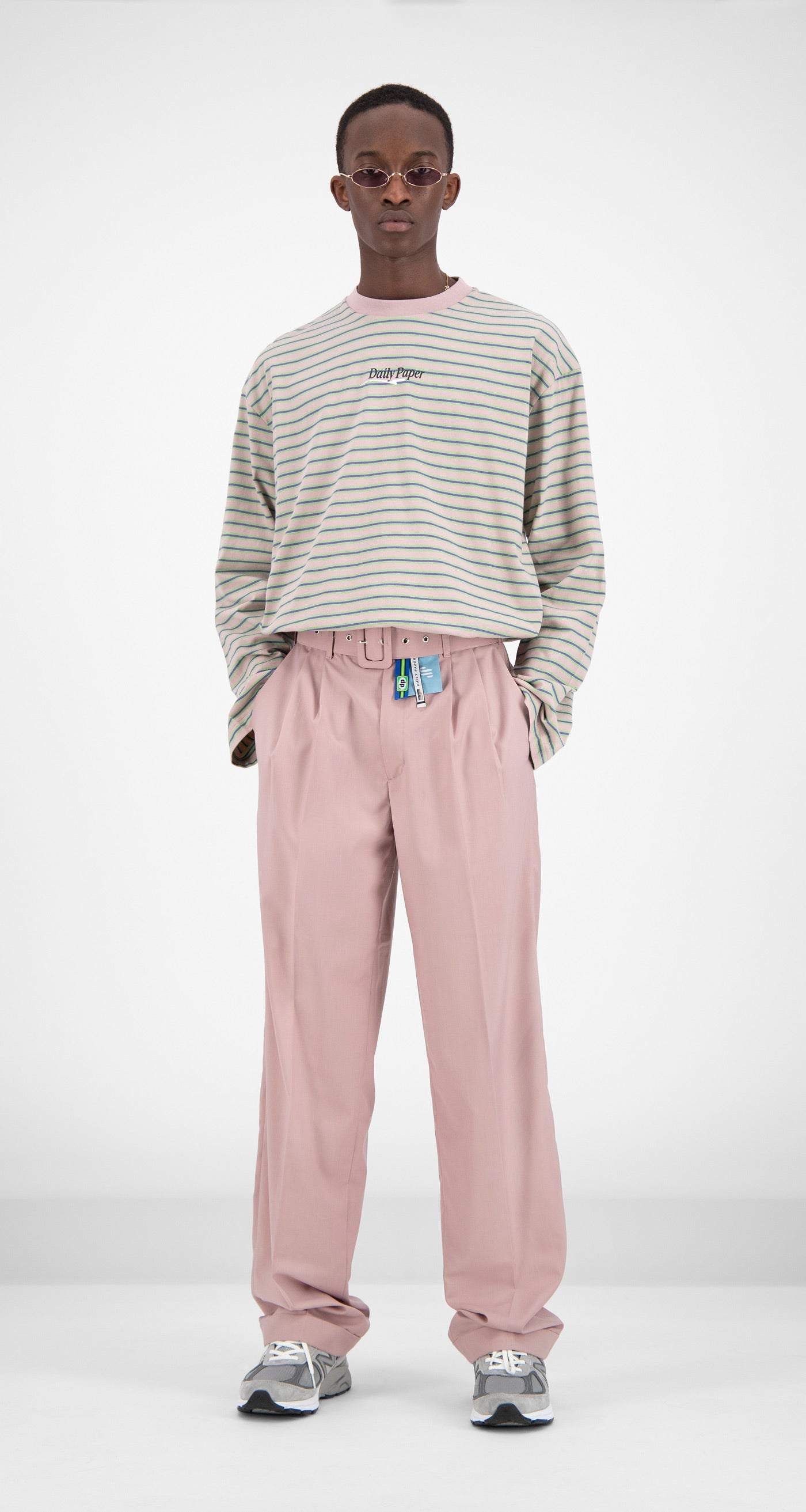 Daily Paper - Old Pink Striped Fong Longsleeve Men Front