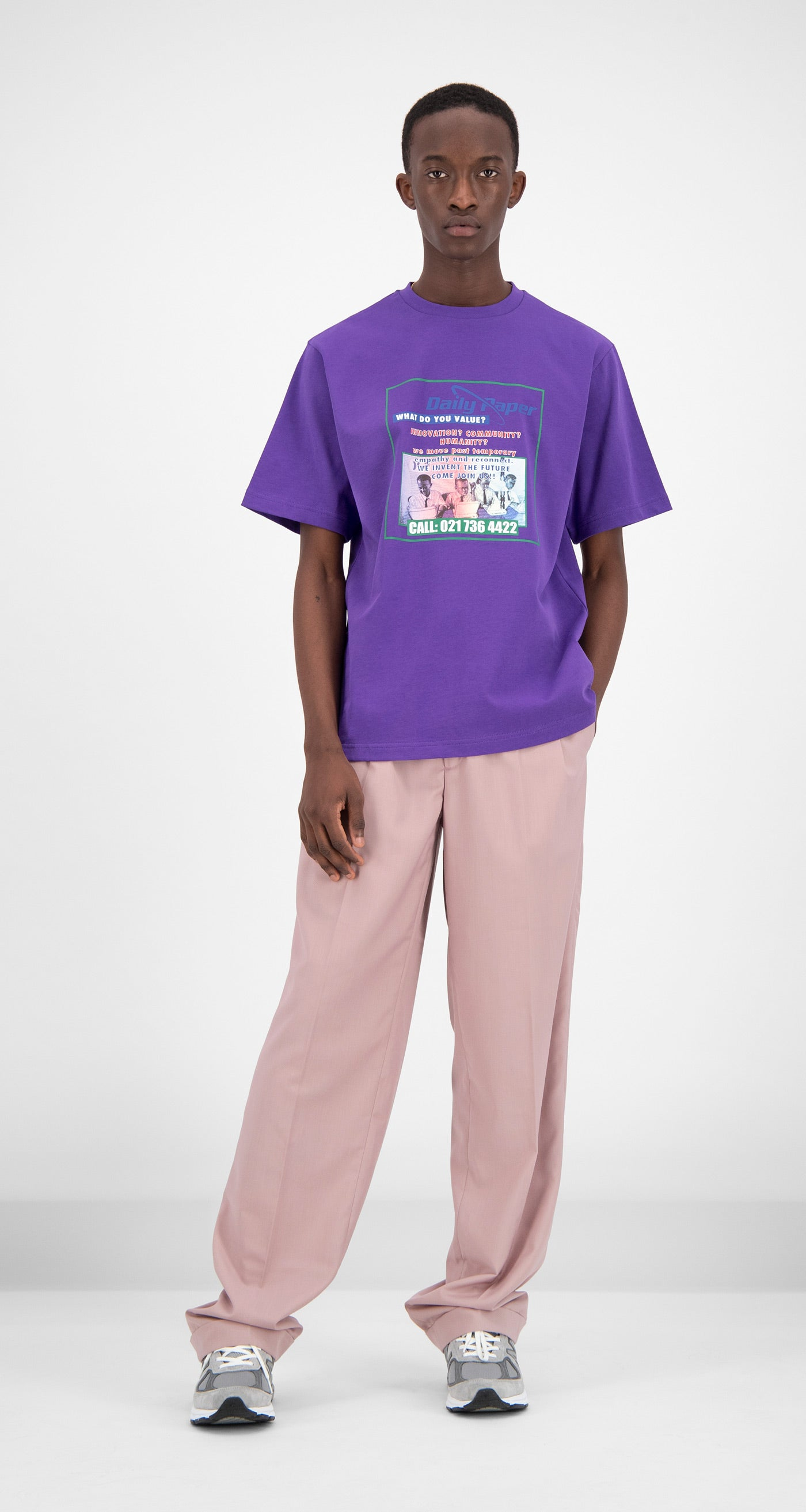 Daily Paper - Purple Fakry T-Shirt Men Front
