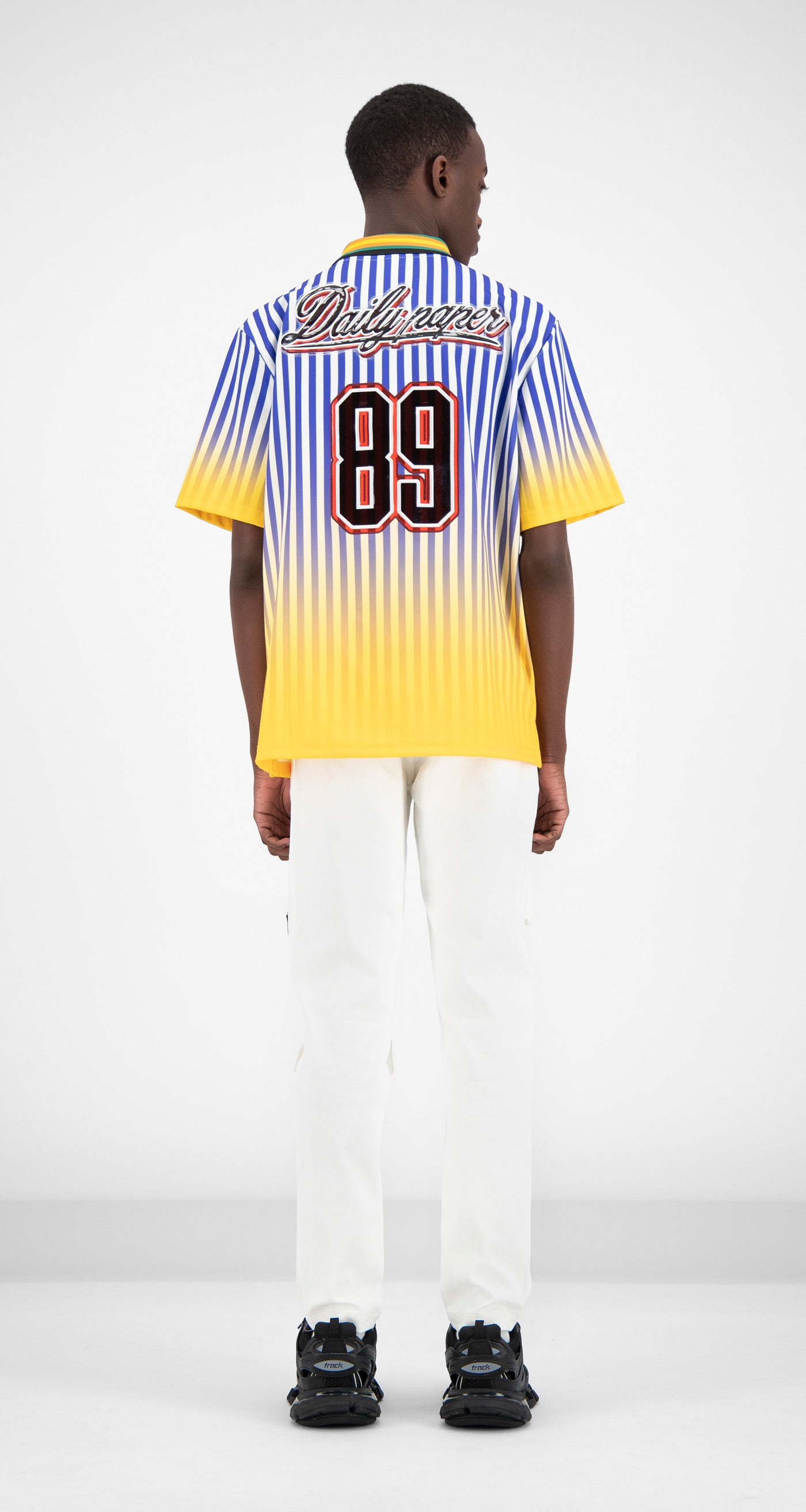 Daily Paper - Blue Striped Gradient Football T-Shirt Men Rear