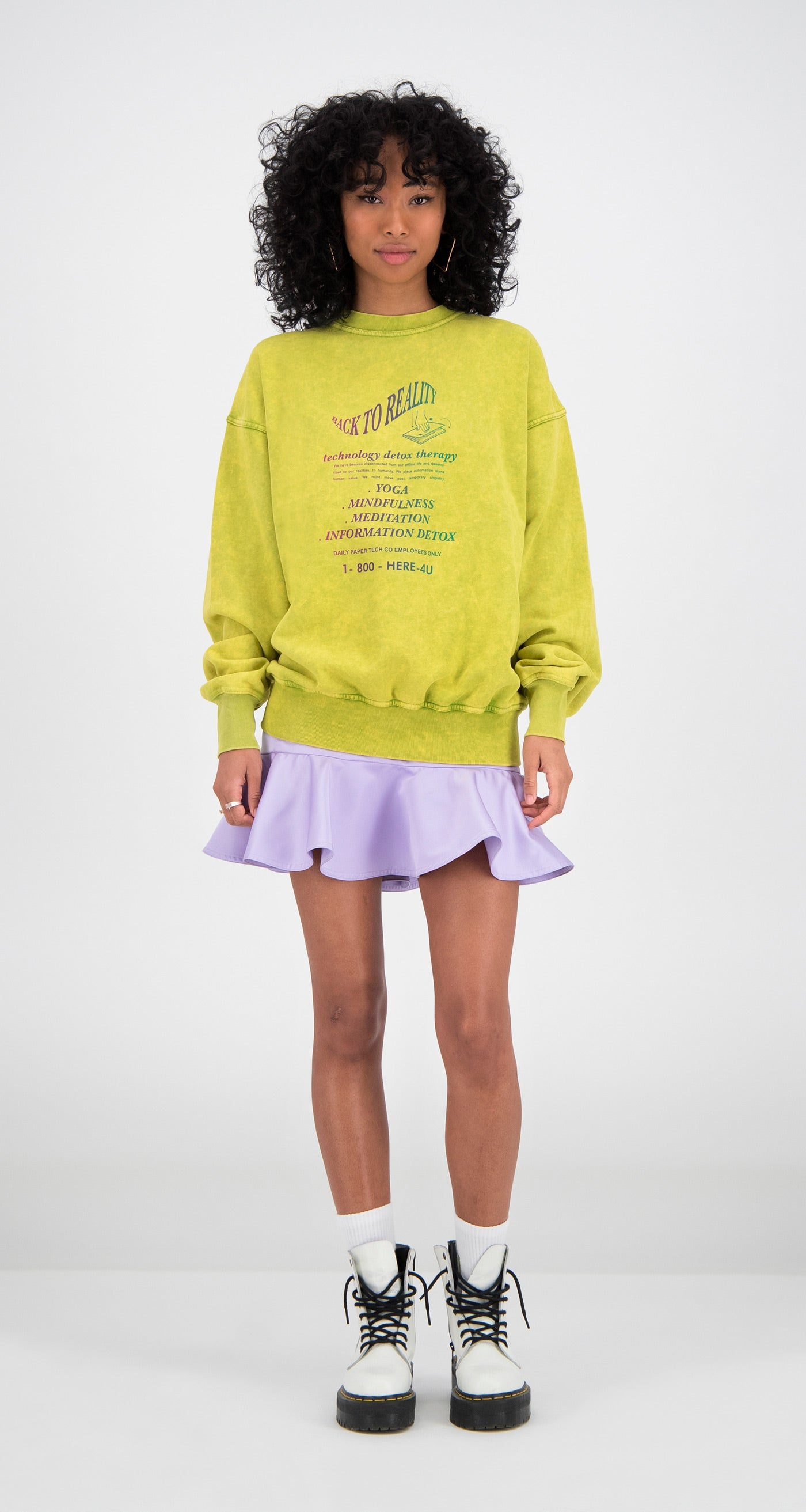 Daily Paper - Yellow Fadu Oversized Sweater Women Front