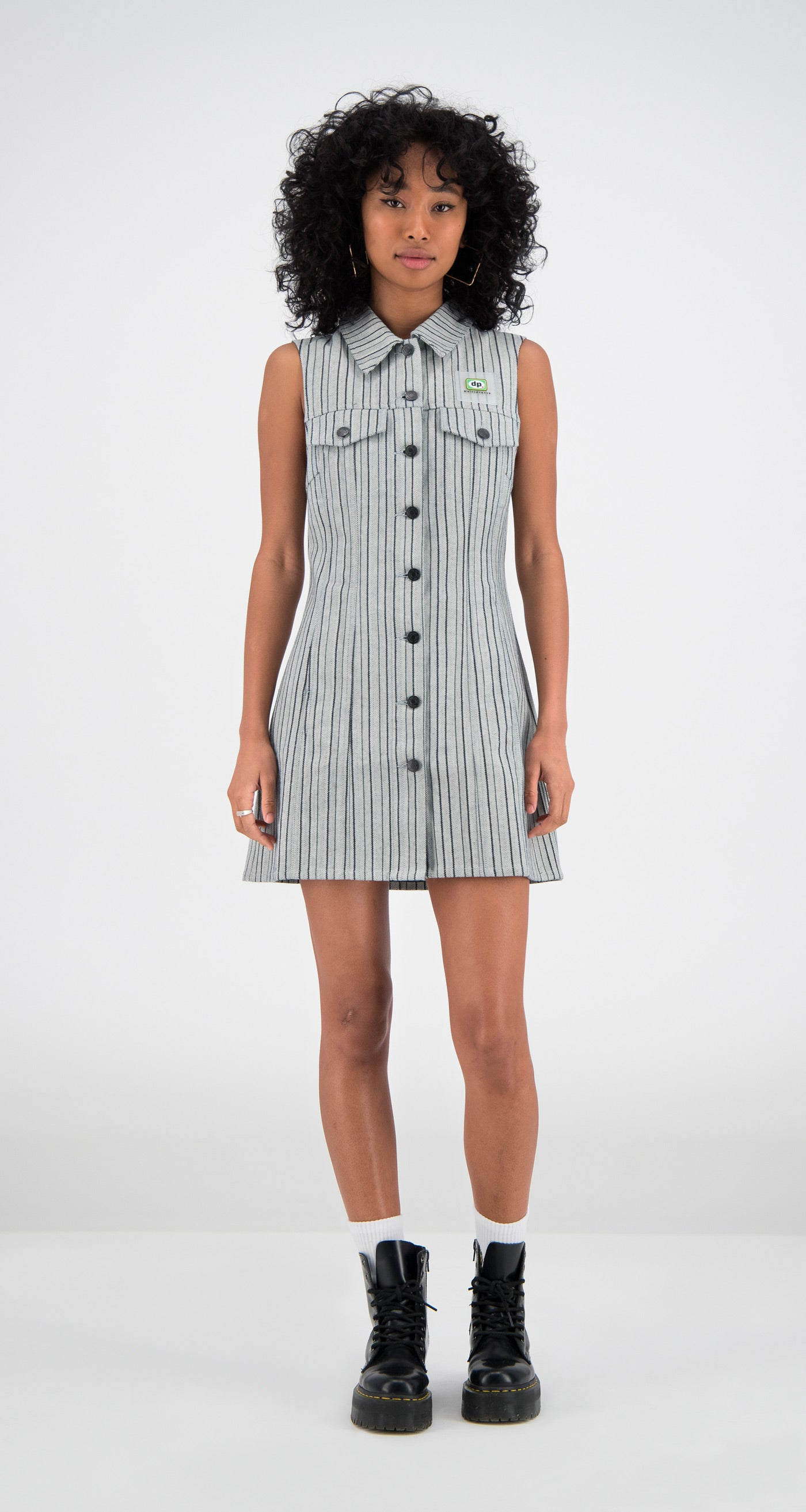 Daily Paper - Grey Denim Fae Dress Women Front