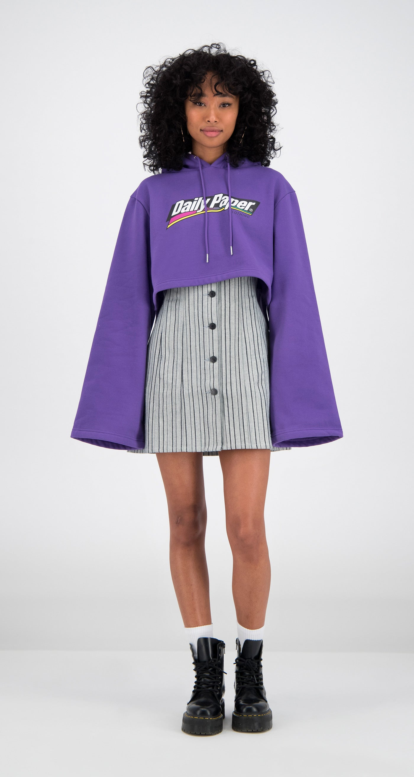 Daily Paper - Purple Cropped Fello Hoody Women Front