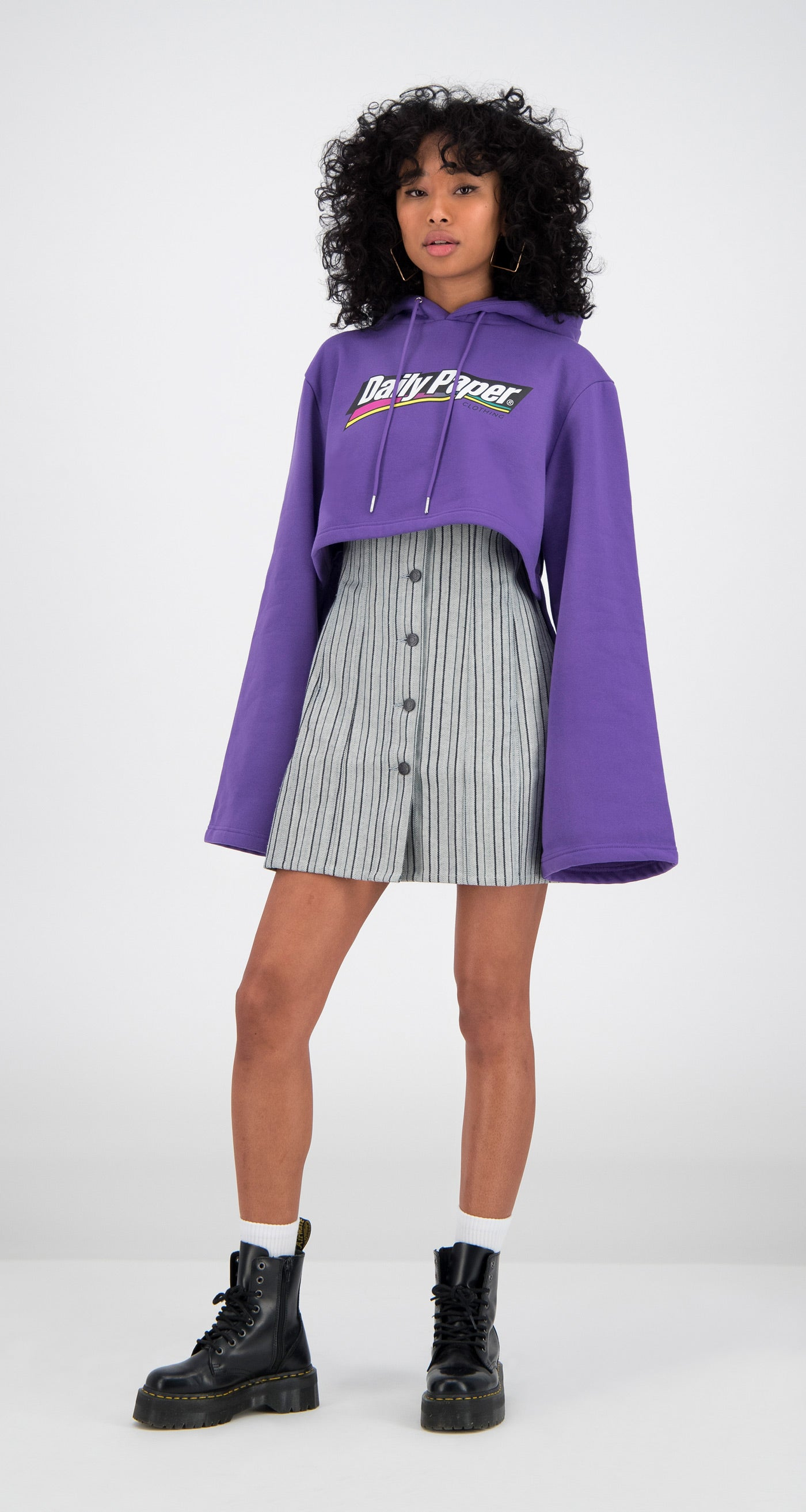 Daily Paper - Purple Cropped Fello Hoody Women
