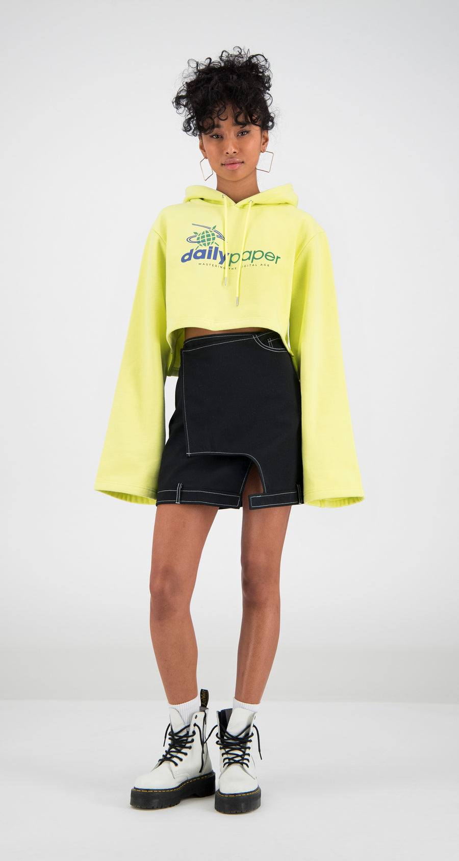 Daily Paper - Yellow Cropped Fello Hoody Women Front