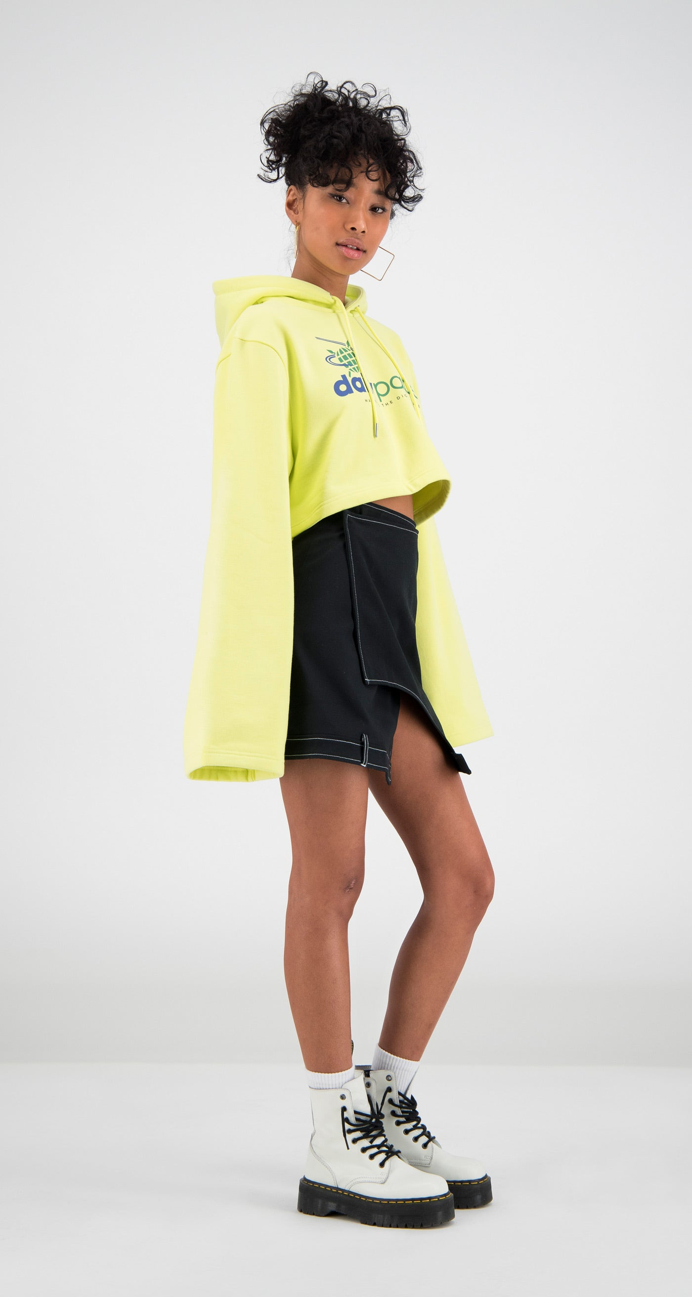 Daily Paper - Yellow Cropped Fello Hoody Women