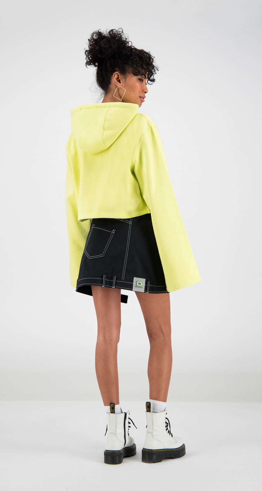 Daily Paper - Yellow Cropped Fello Hoody Women Rear
