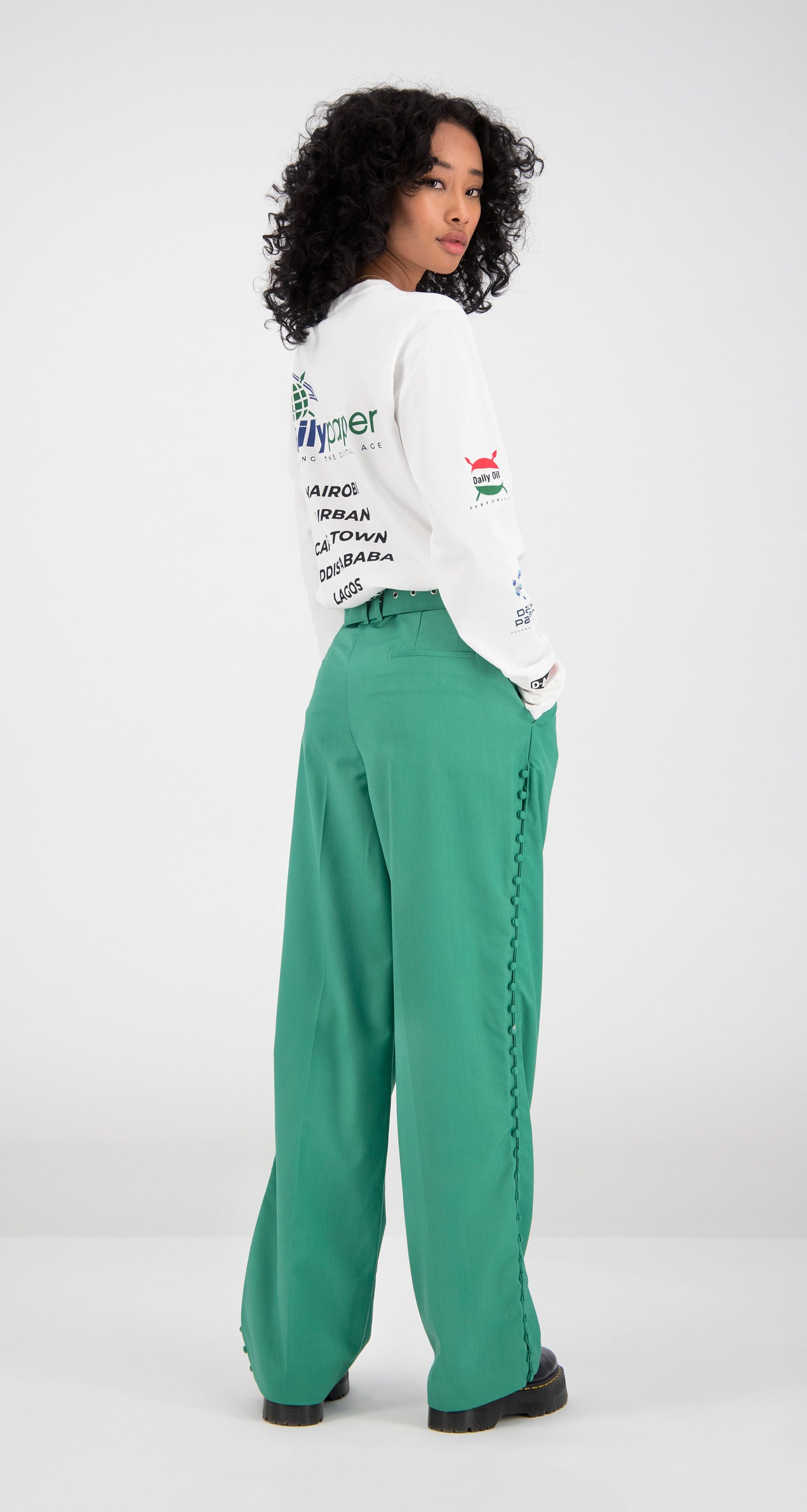 Daily Paper - Green Fin Pants Women Rear