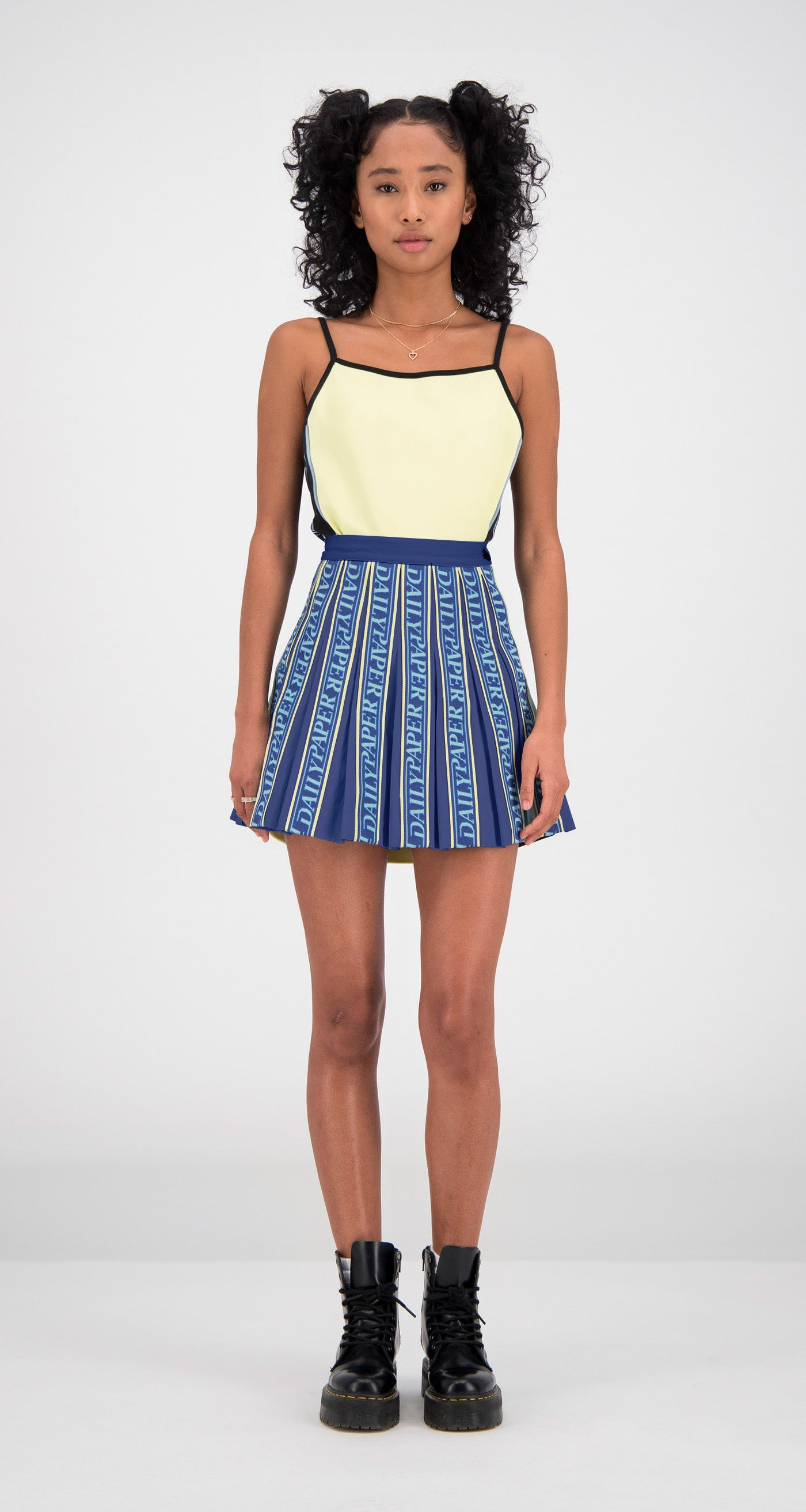 Daily Paper - Navy Fara Tape Skirt Women Front