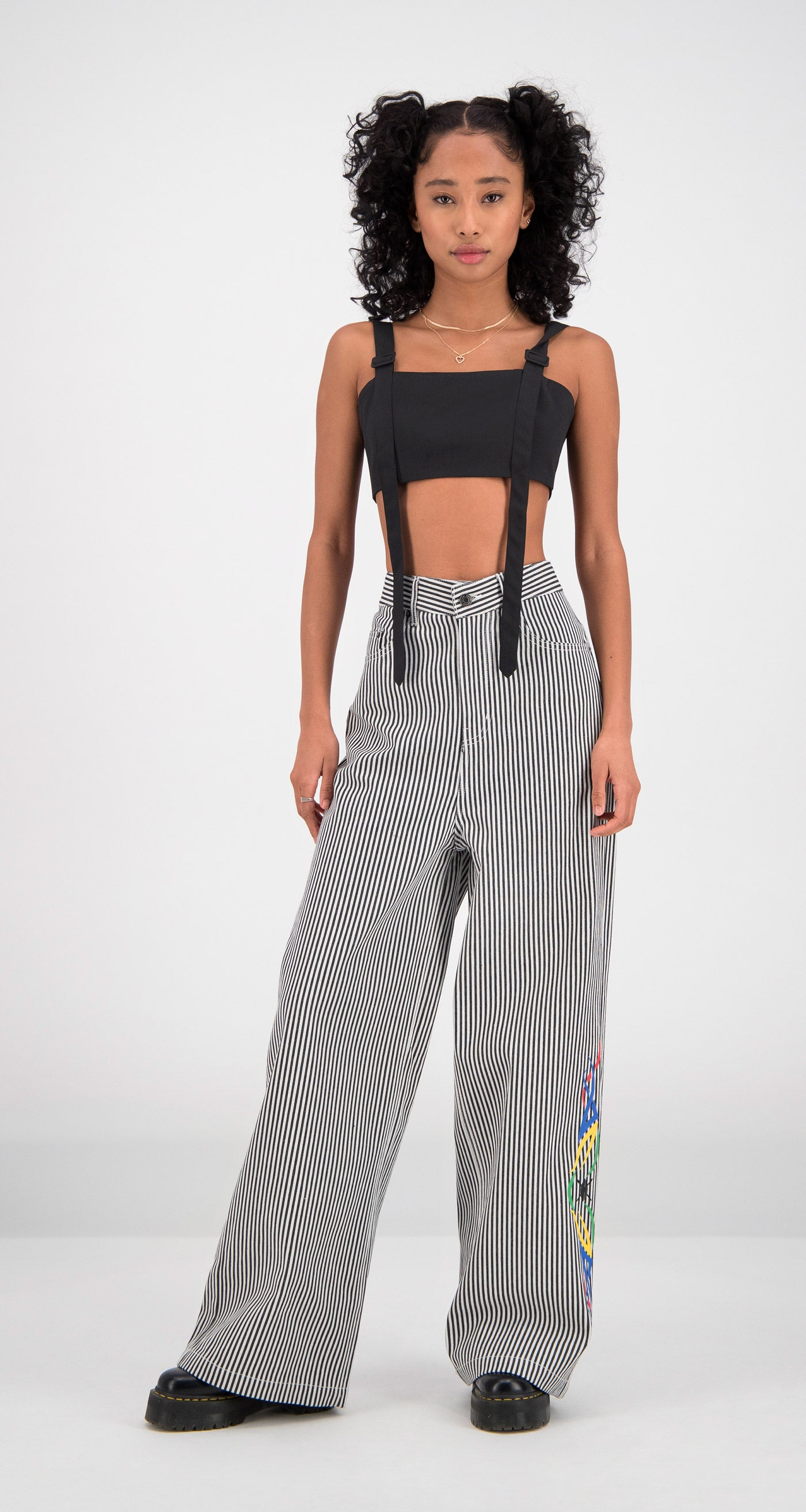 Daily Paper - Striped Fikir Wide Leg Pants Women Front