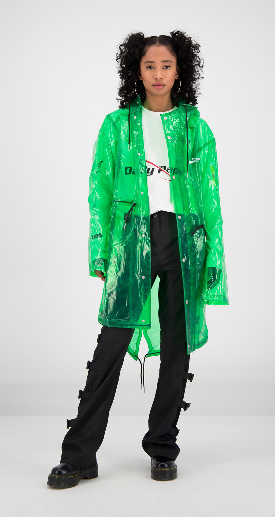 Daily Paper - Green Transparent Fatec Raincoat Women Front