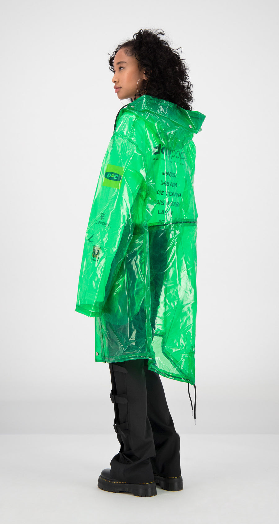 Daily Paper - Green Transparent Fatec Raincoat Women Rear