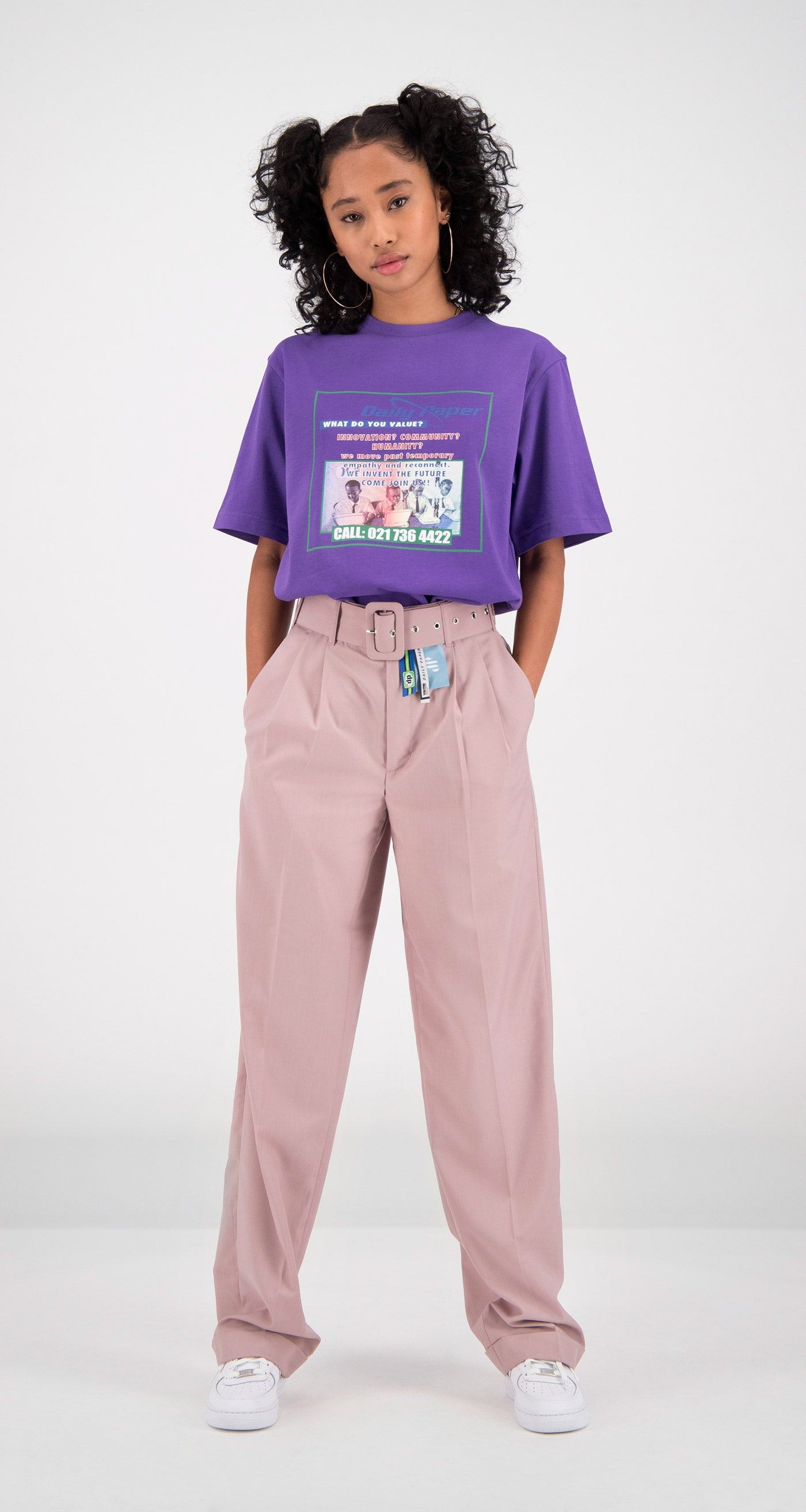 Daily Paper - Purple Fakry T-Shirt Women Front