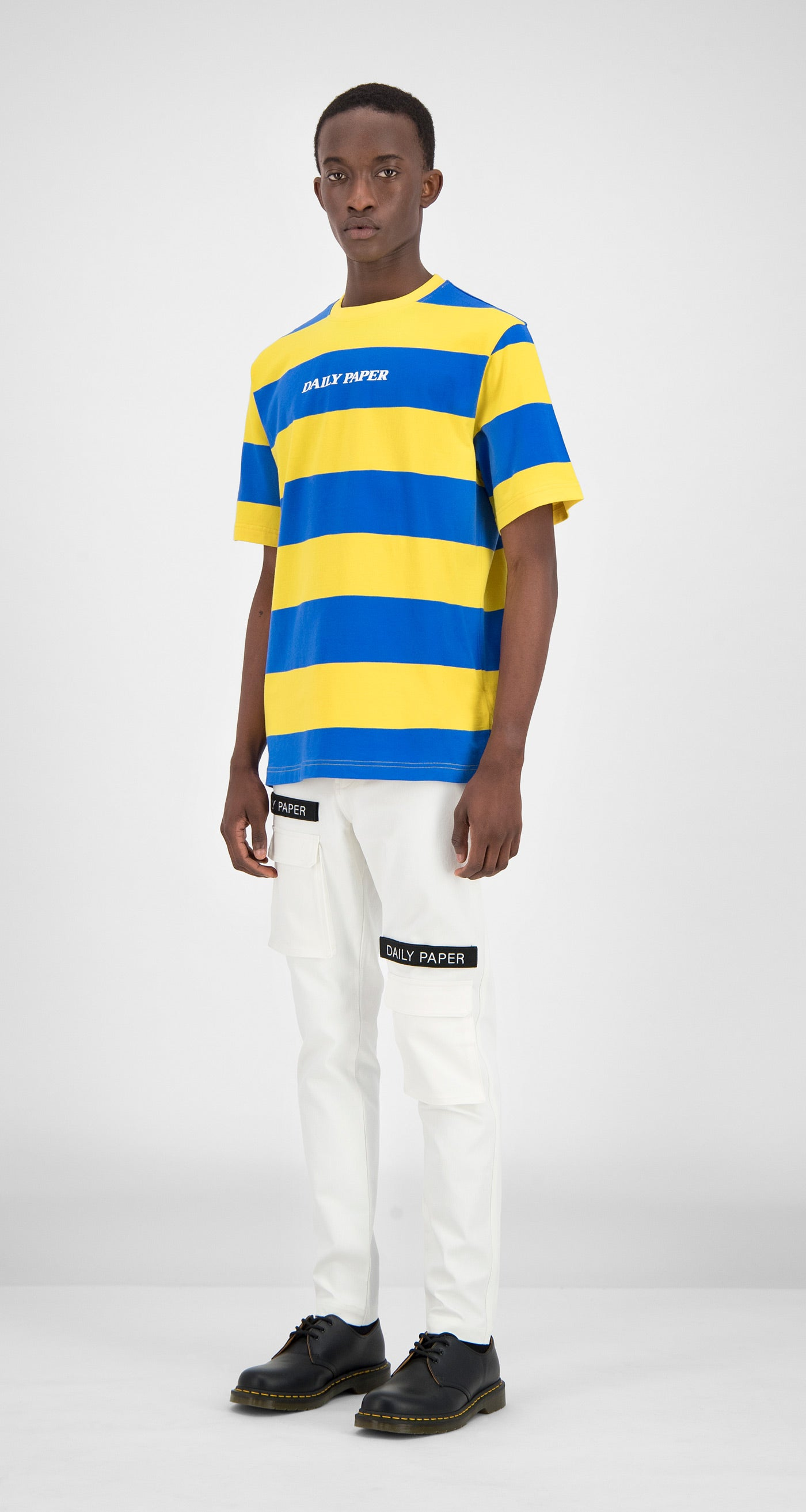 Daily Paper - Blue Yellow Striped T-Shirt Men